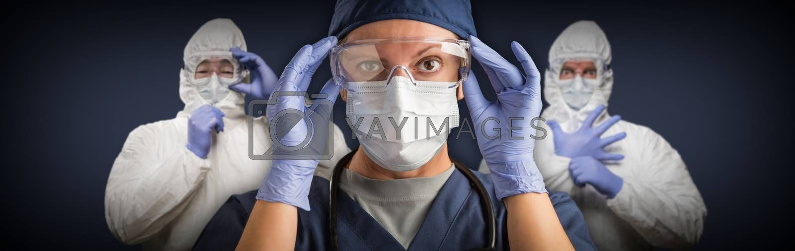 Team of Female and Male Doctors or Nurses Wearing Protective Medical Face Masks and Goggles Banner.