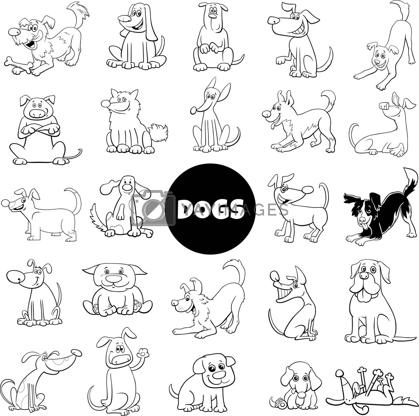 Black and White Cartoon Illustration of Dogs and Puppies Pet Animal Characters Large Set
