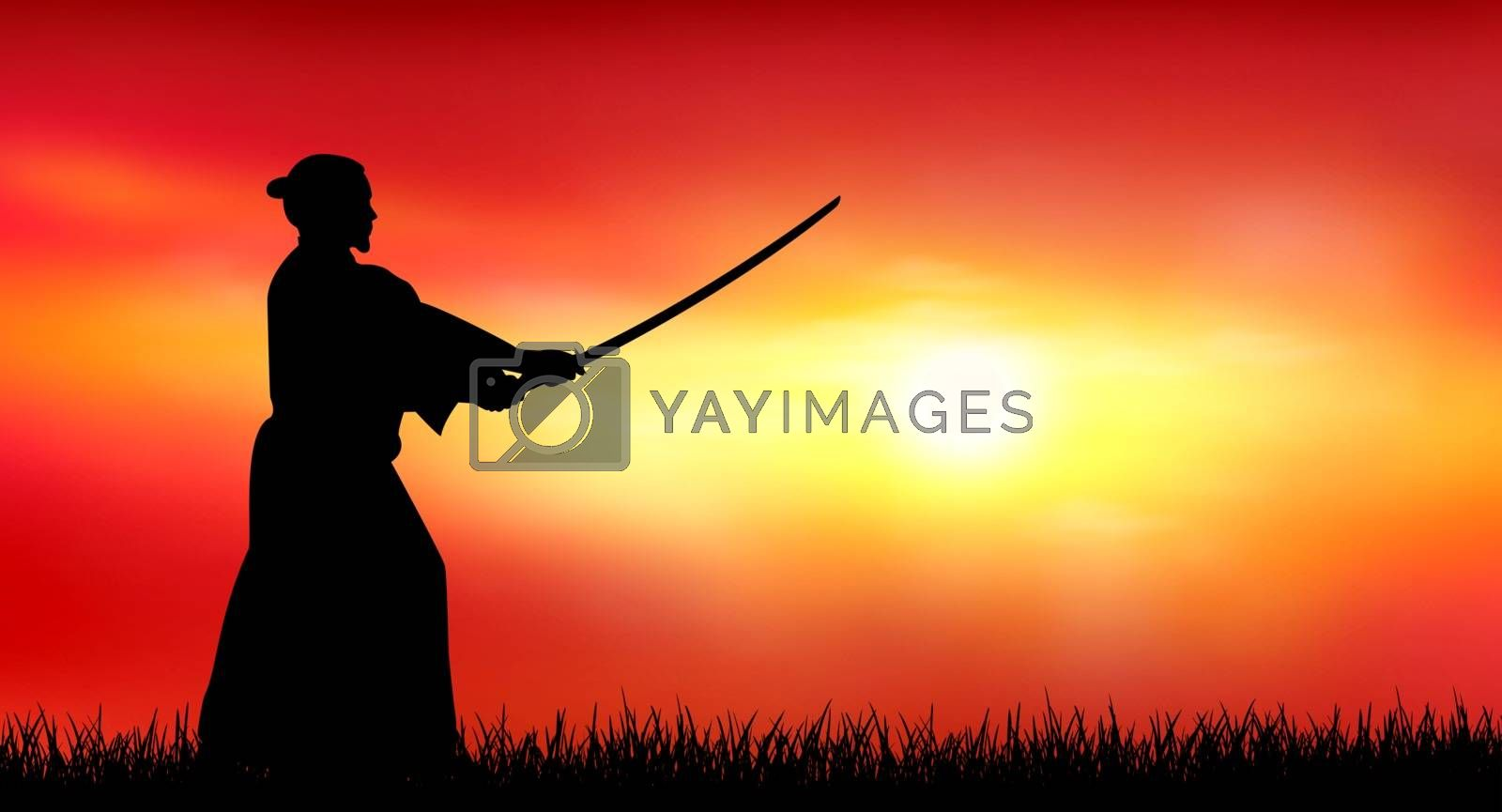 A man stands with a sword in his hands against the backdrop of a sunny sunset.