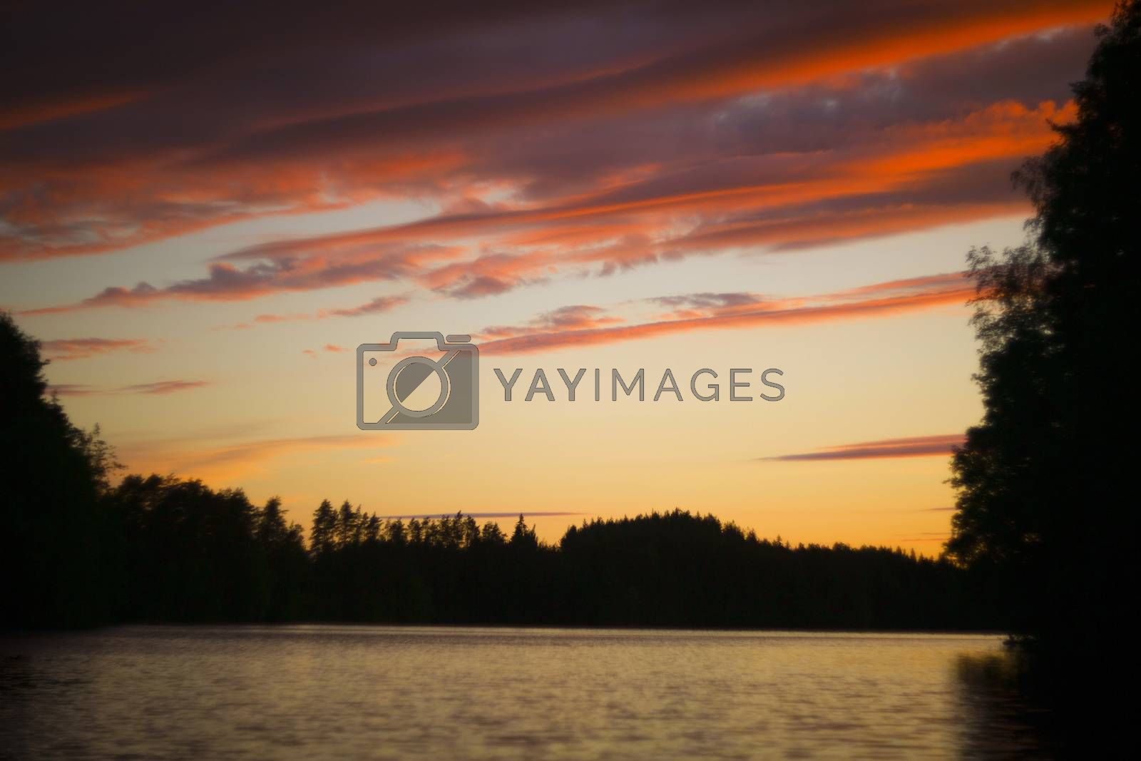 Beautiful landscape of forest lake and islands in Finland summer sunset view