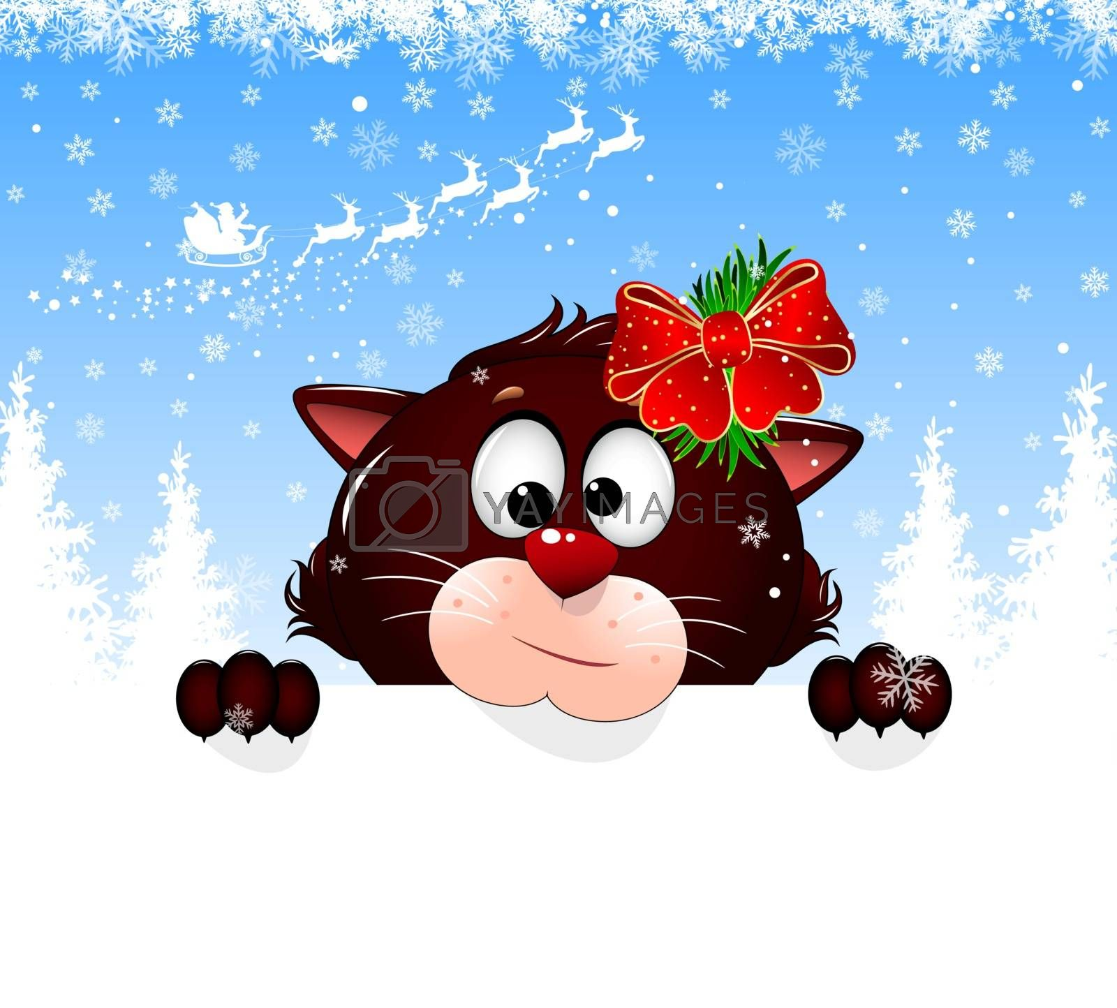 Cartoon cat on a winter background with snowflakes. Feline portrait close-up. Cat face, snowflakes, Santa Claus on deers, forest. Greeting card Merry Christmas and Happy New Year.
