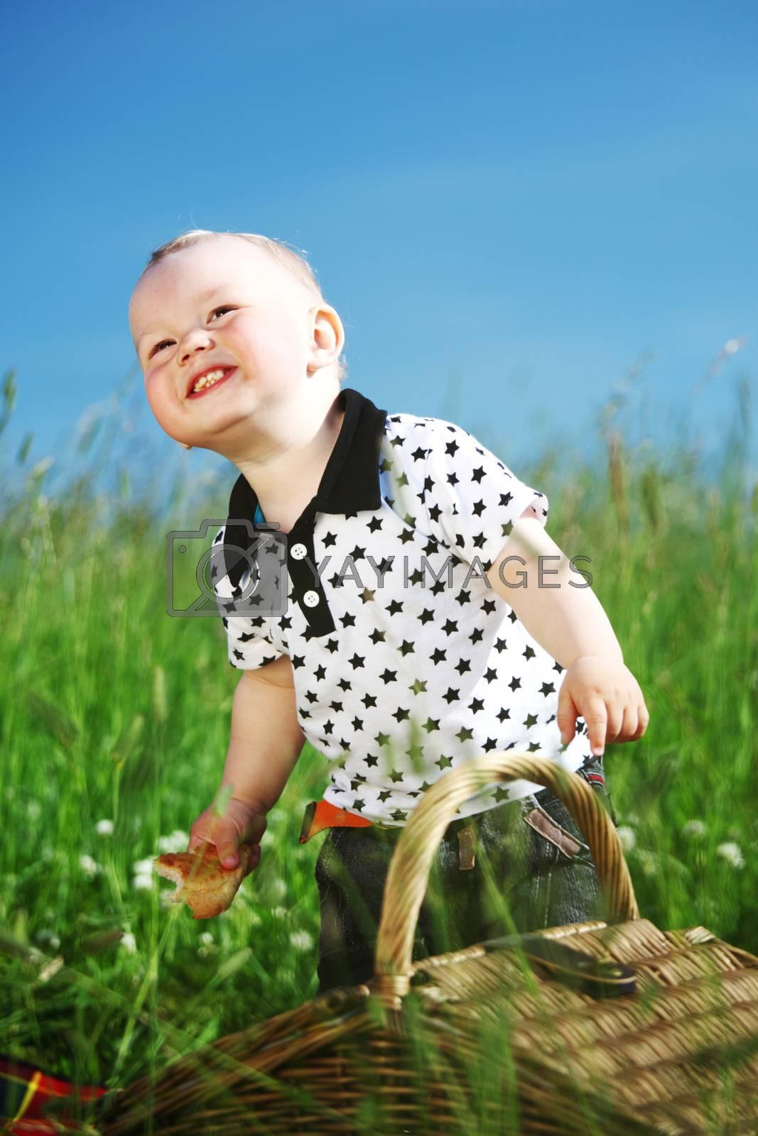 Boy on picnic by Yellowj