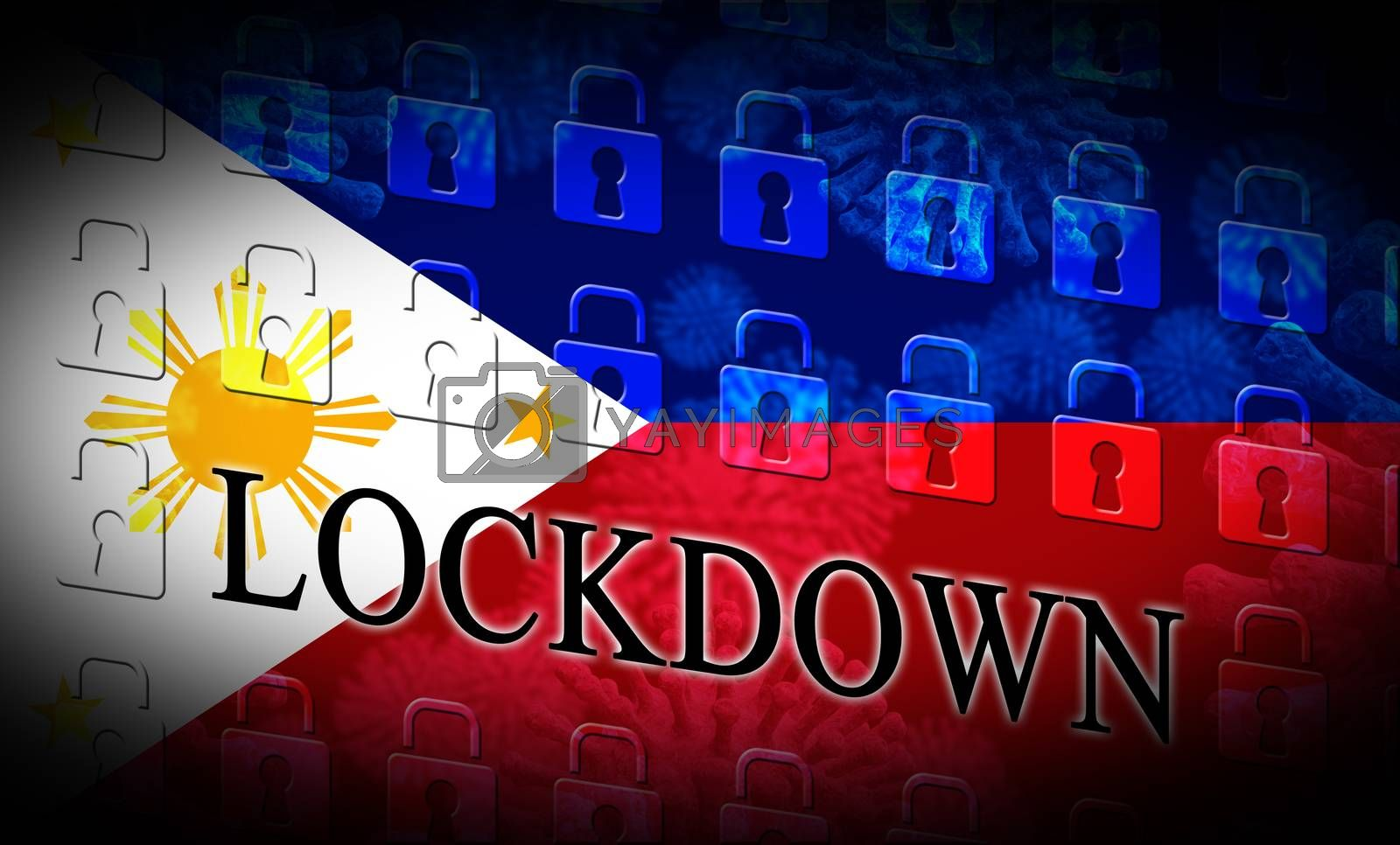 Philippines lockdown or shutdown preventing coronavirus epidemic outbreak. Covid 19 Pilipinas aim to lock down disease infection - 3d Illustration