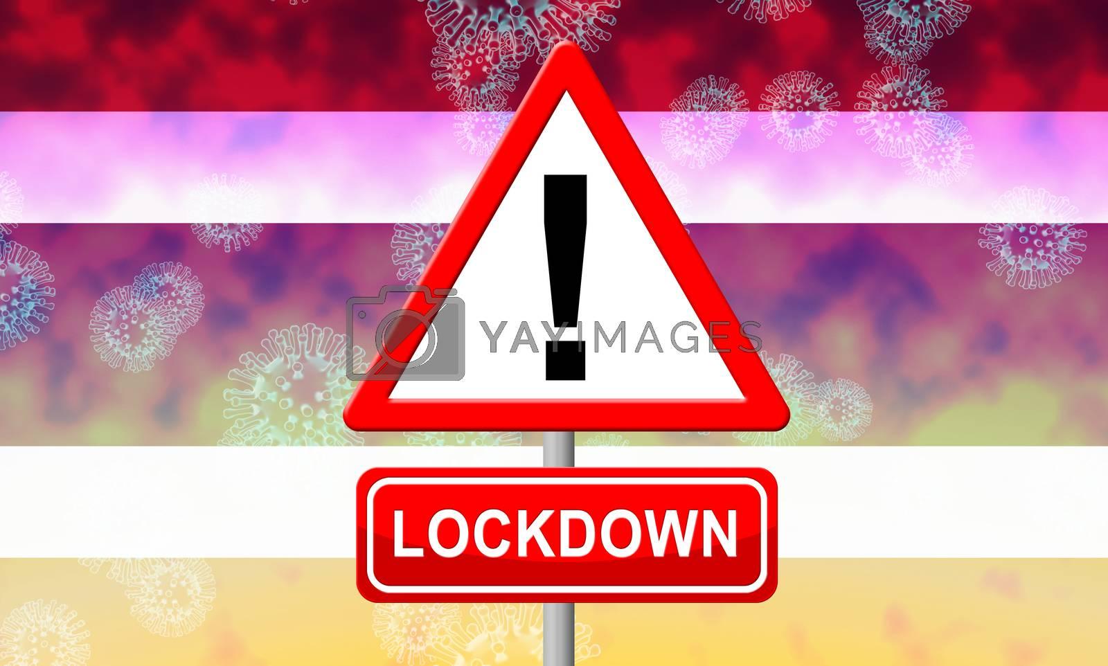 Thailand lockdown or shutdown for ncov epidemic. Covid 19 Thai precaution to isolate disease infection - 3d Illustration