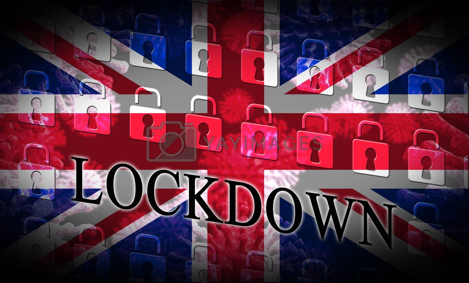 United Kingdom lockdown emergency preventing coronavirus spread or outbreak. Covid 19 UK precaution to lock down virus infection - 3d Illustration