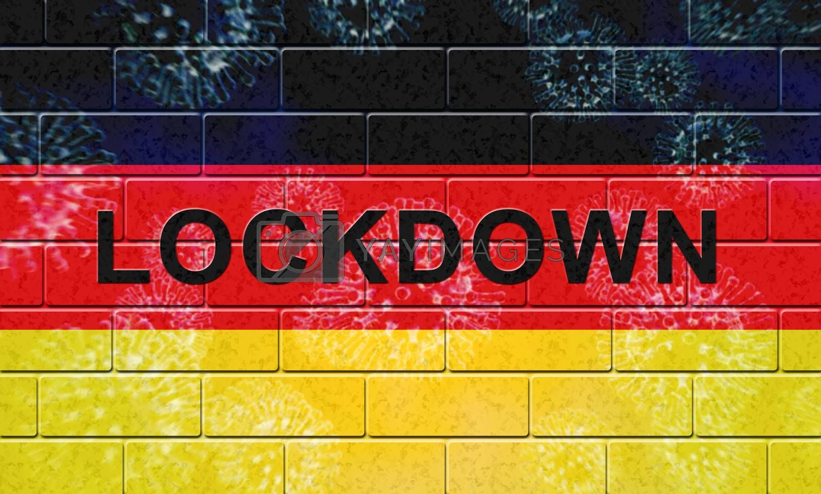 German lockdown stopping ncov epidemic or outbreak. Covid 19 Germany ban to isolate disease infection - 3d Illustration
