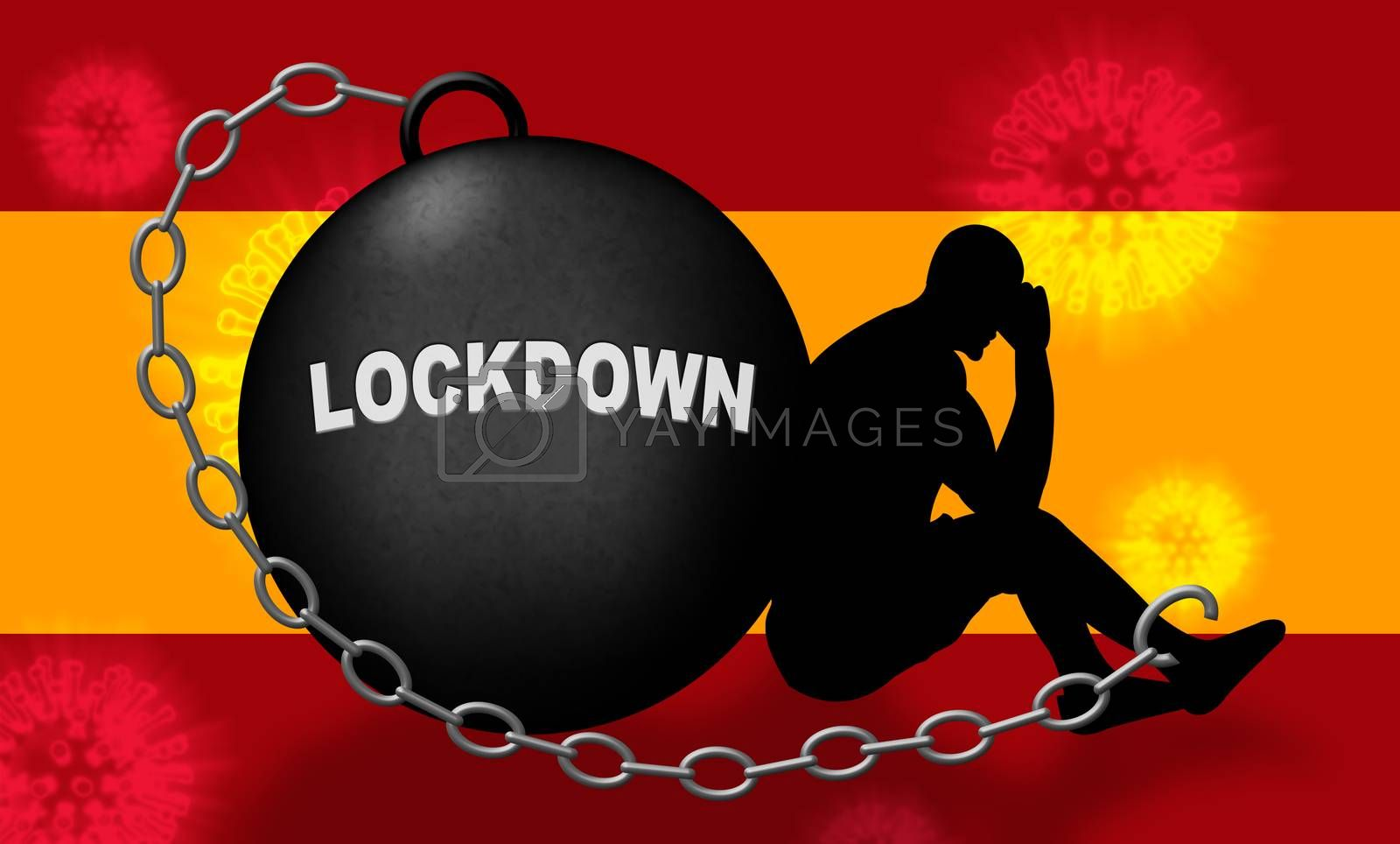Spanish lockdown stopping covid19 epidemic or outbreak. Covid 19 Spain ban to restrict disease infection - 3d Illustration