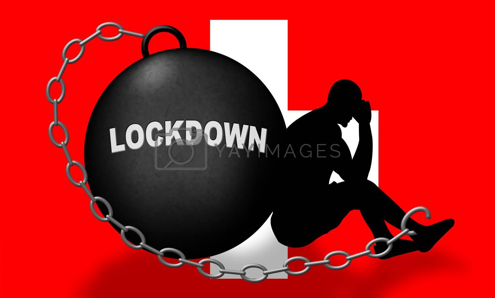 Switzerland lockdown preventing coronavirus pandemic outbreak. Covid 19 Swiss precaution to lock down disease infection - 3d Illustration