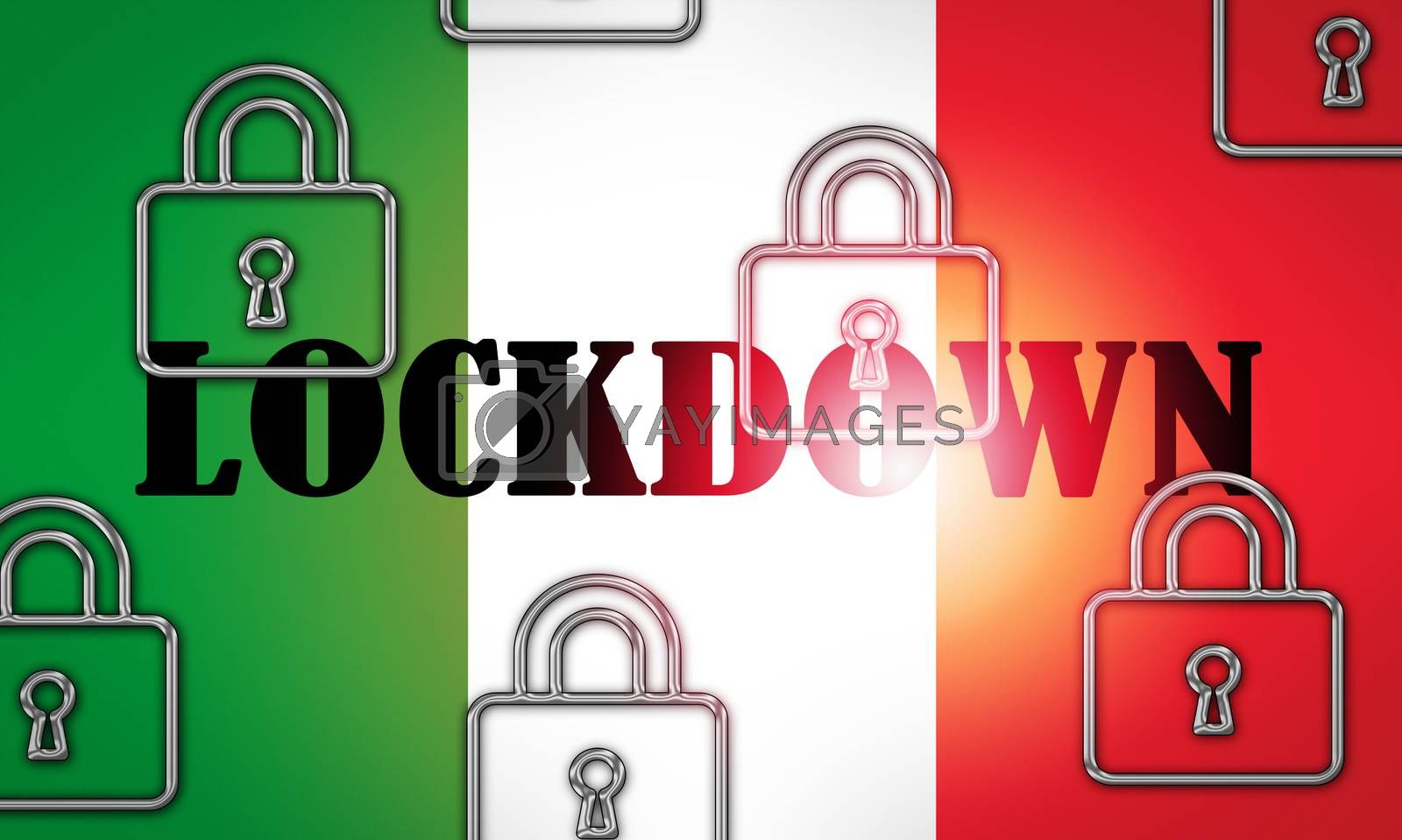 Italy lockdown to stop ncov epidemic or pandemic. Covid 19 Italian ban to isolate disease infection - 3d Illustration