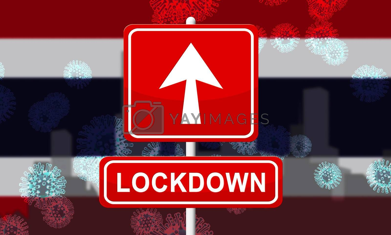 Thailand lockdown or shut down for ncov epidemic. Covid 19 Thai precaution to isolate disease infection - 3d Illustration