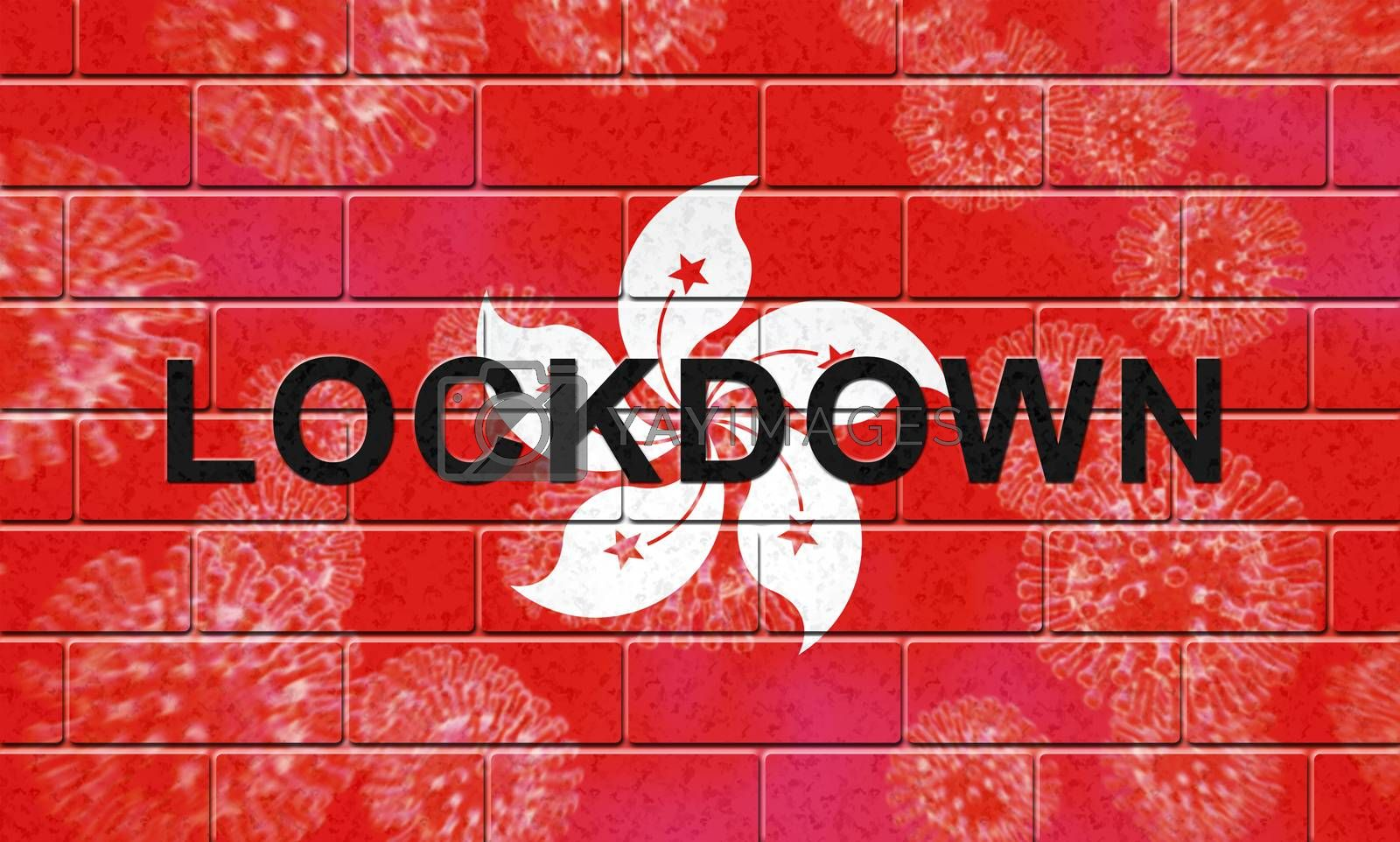 Hong Kong lockdown preventing covid19 spread and outbreak. Covid 19 HK precaution to lock down virus infection - 3d Illustration