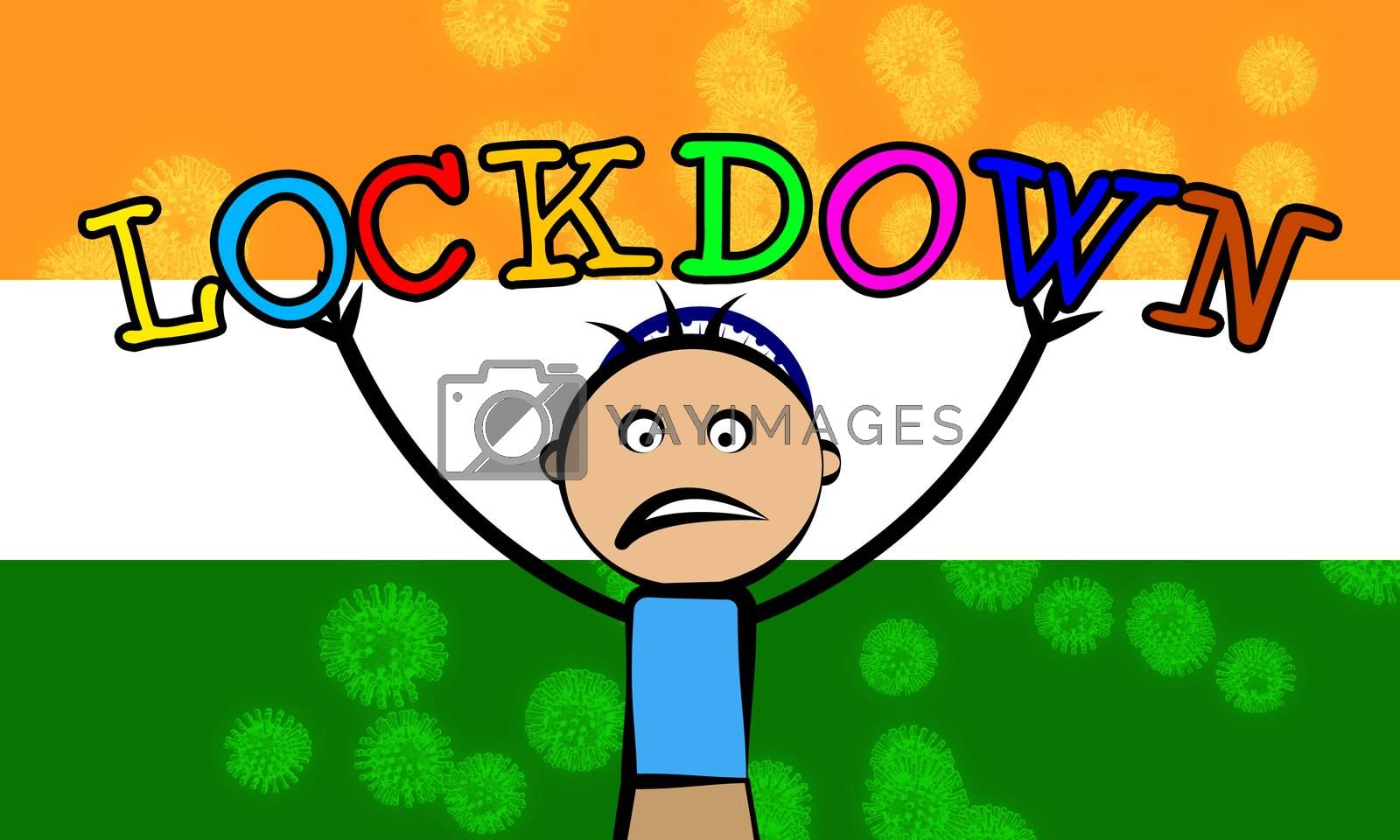 India kids lockdown preventing covid19 epidemic and outbreak. Covid 19 Indian precaution to isolate children from disease infection - 3d Illustration