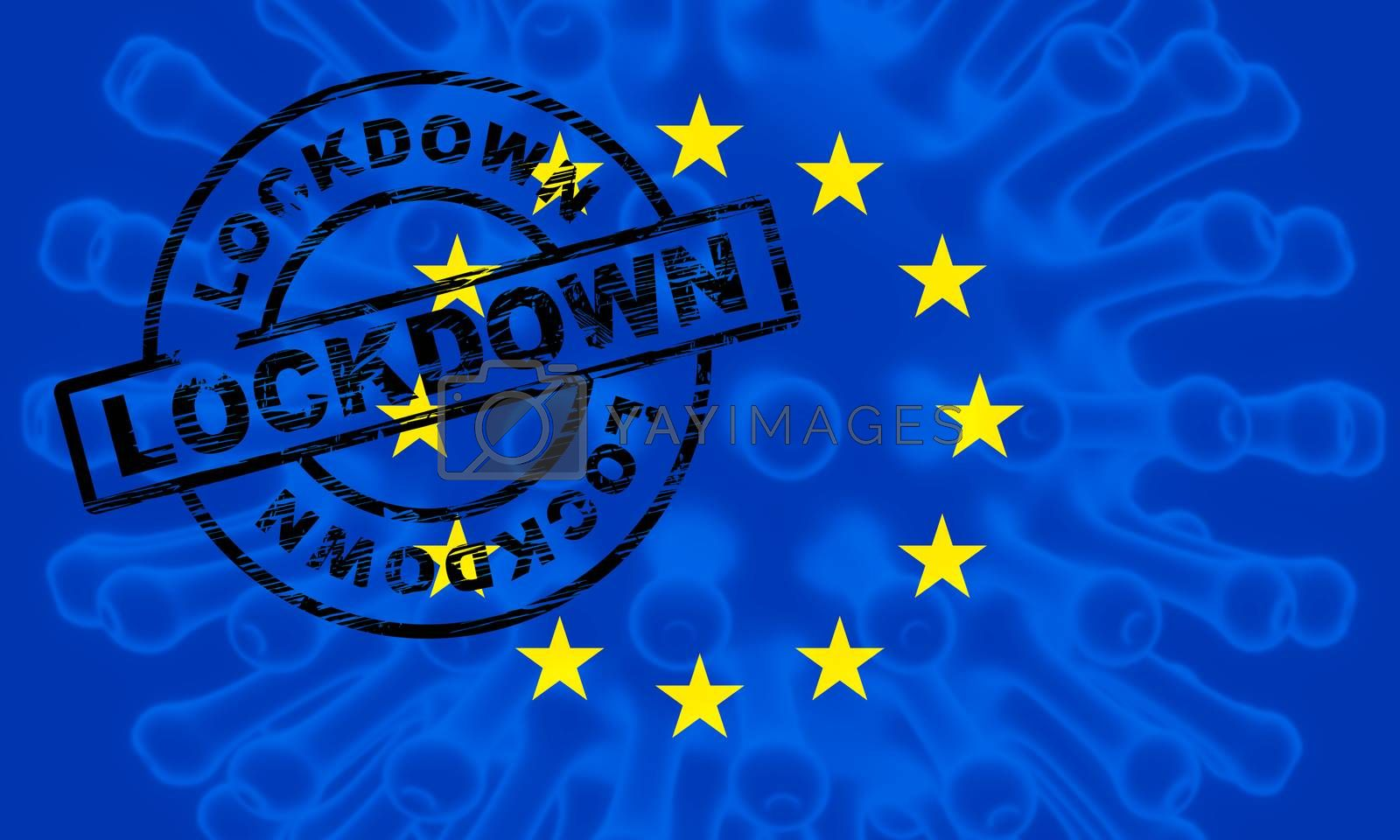 EU lockdown to stop covid19 epidemic or outbreak - 3d Illustrati by stuartmiles