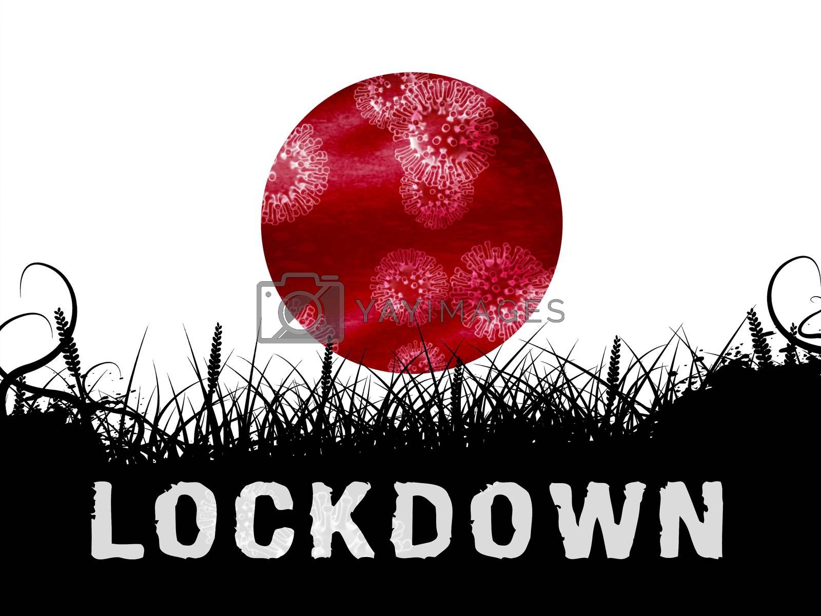 Japan lockdown slowing ncov epidemic or outbreak - 3d Illustrati by stuartmiles