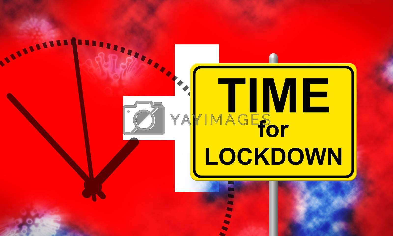 Swiss lockdown preventing coronavirus pandemic outbreak - 3d Ill by stuartmiles