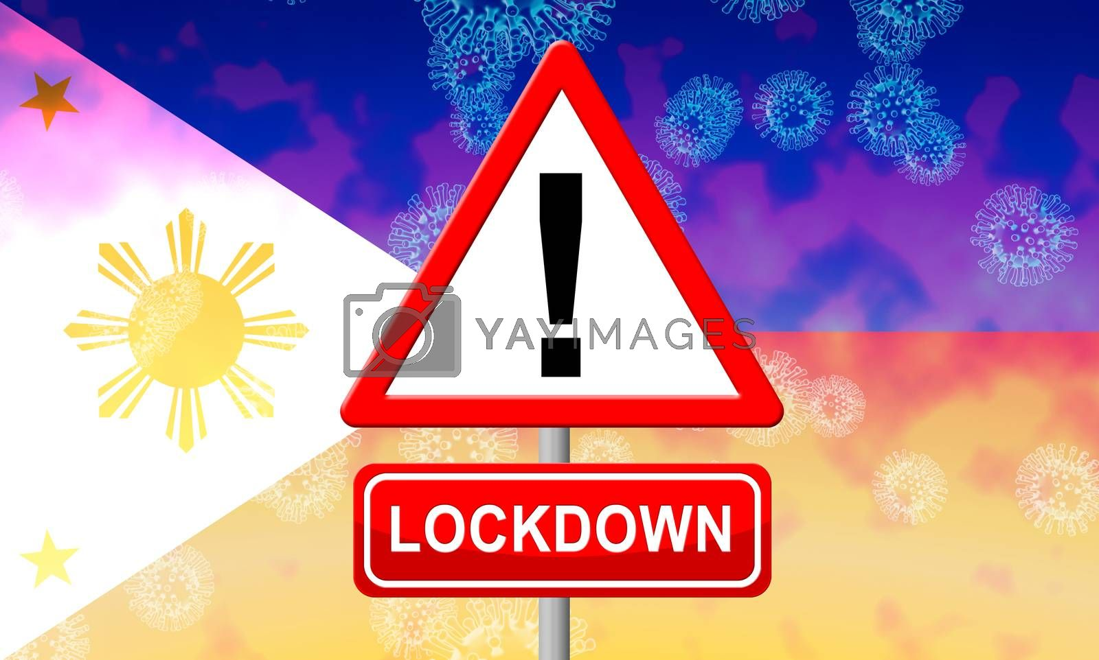 Philippines lockdown or shutdown to stop coronavirus epidemic outbreak. Covid 19 Pilipinas aim to lock down disease infection - 3d Illustration