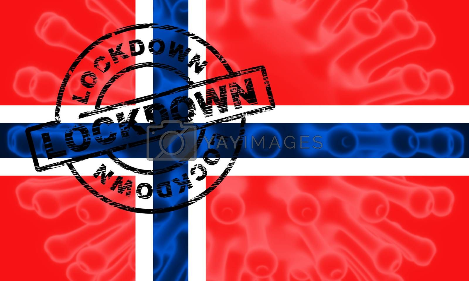 Norway lockdown to stop ncov epidemic or infection. Covid 19 Norwegian ban to isolate disease infection - 3d Illustration