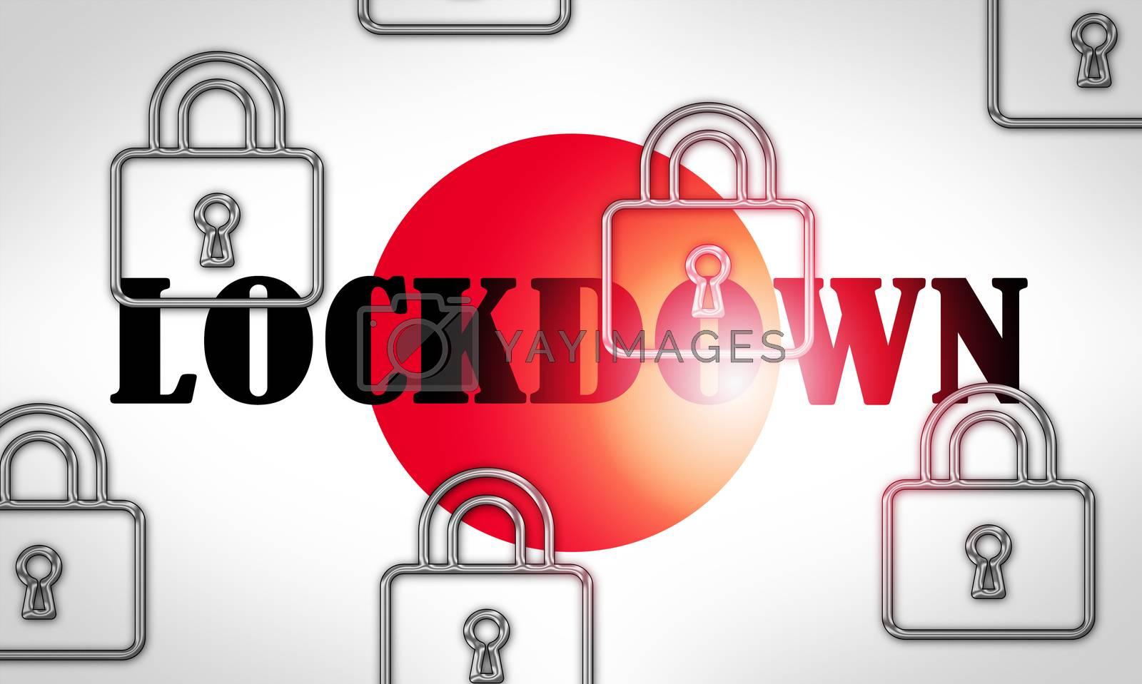 Japan lockdown slowing ncov epidemic or outbreak - 3d Illustrati by stuartmiles