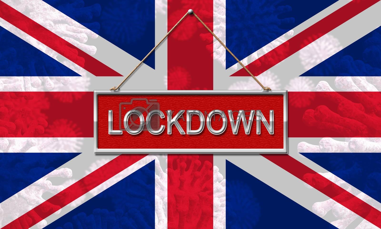 UK lockdown emergency preventing coronavirus spread or outbreak. Covid 19 United Kingdom precaution to lock down virus infection - 3d Illustration