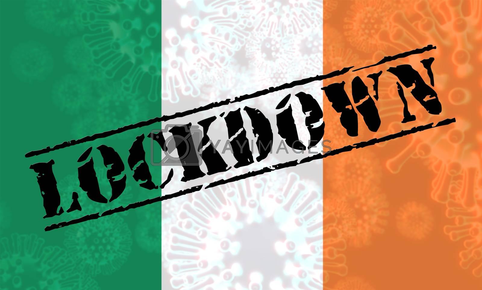 Irish lockdown or curfew to stop covid19 epidemic. Covid 19 Ireland precaution to isolate virus infection - 3d Illustration