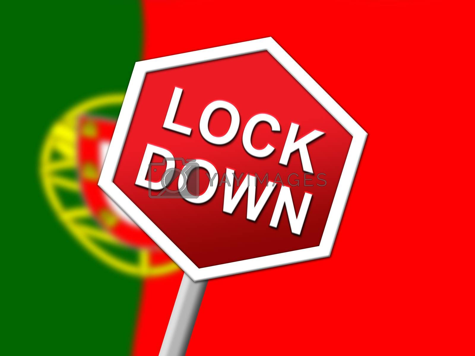 Portugal lockdown sign in solitary confinement or stay home - 3d by stuartmiles