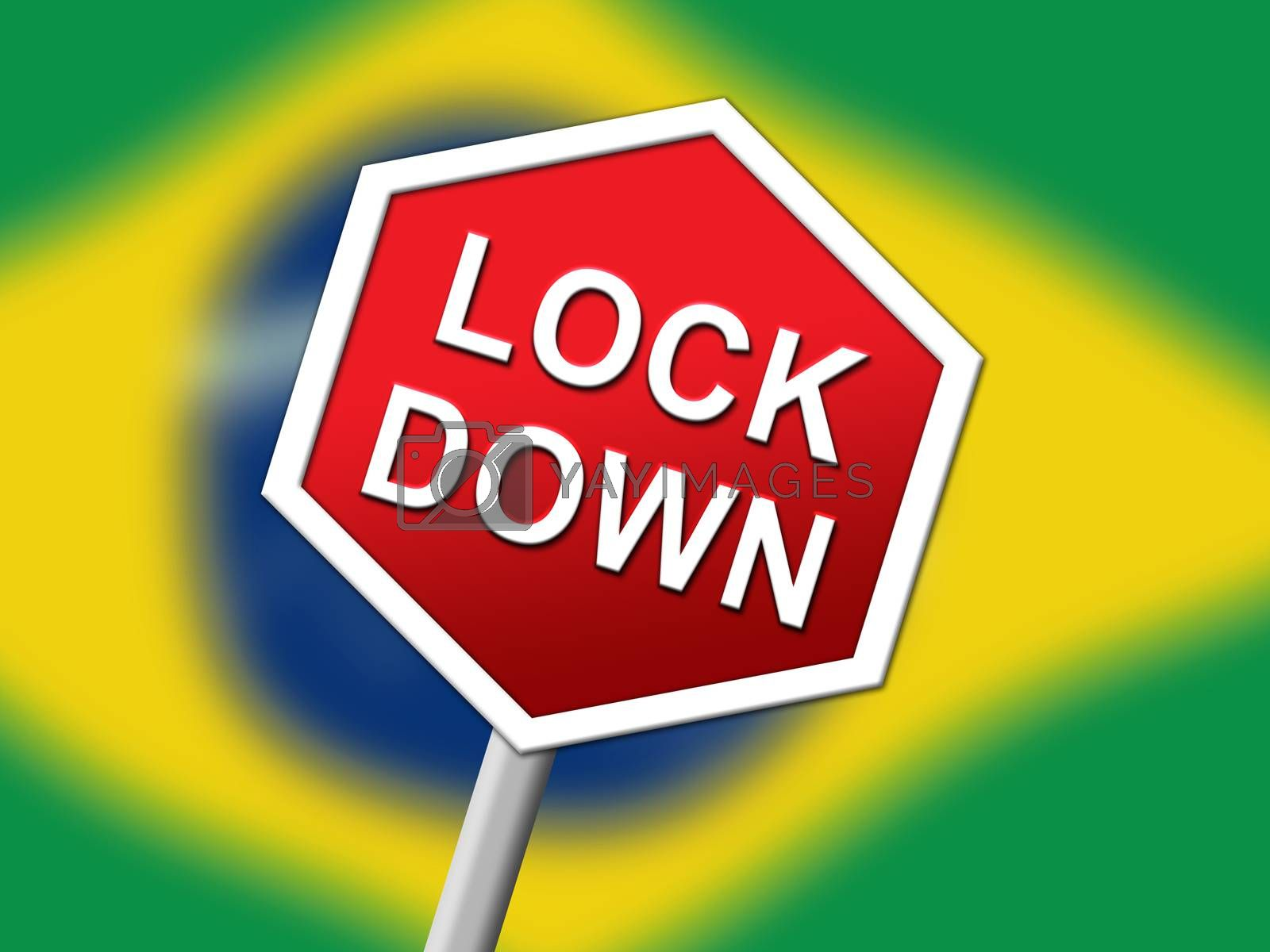 Brazil lockdown sign in solitary confinement or stay home - 3d I by stuartmiles