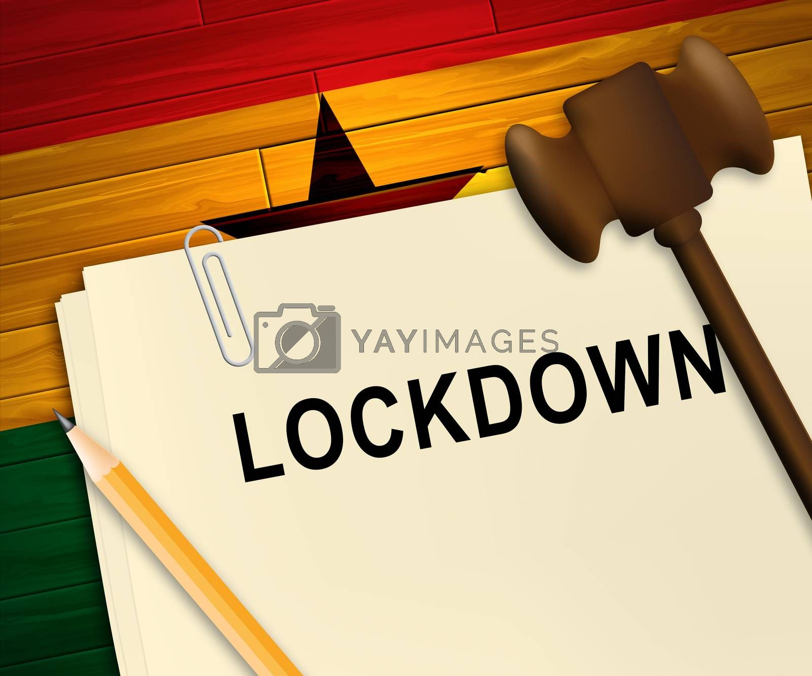 Ghana lockdown against coronavirus covid-19. Stay home order to enforce self isolation and stop infection - 3d Illustration