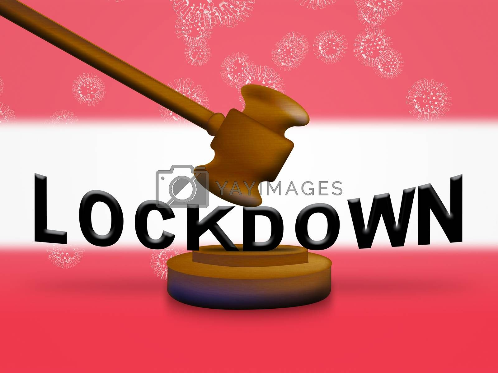 Austria lockdown in solitary confinement or stay home. Austrian lock down from covid-19 pandemic - 3d Illustration