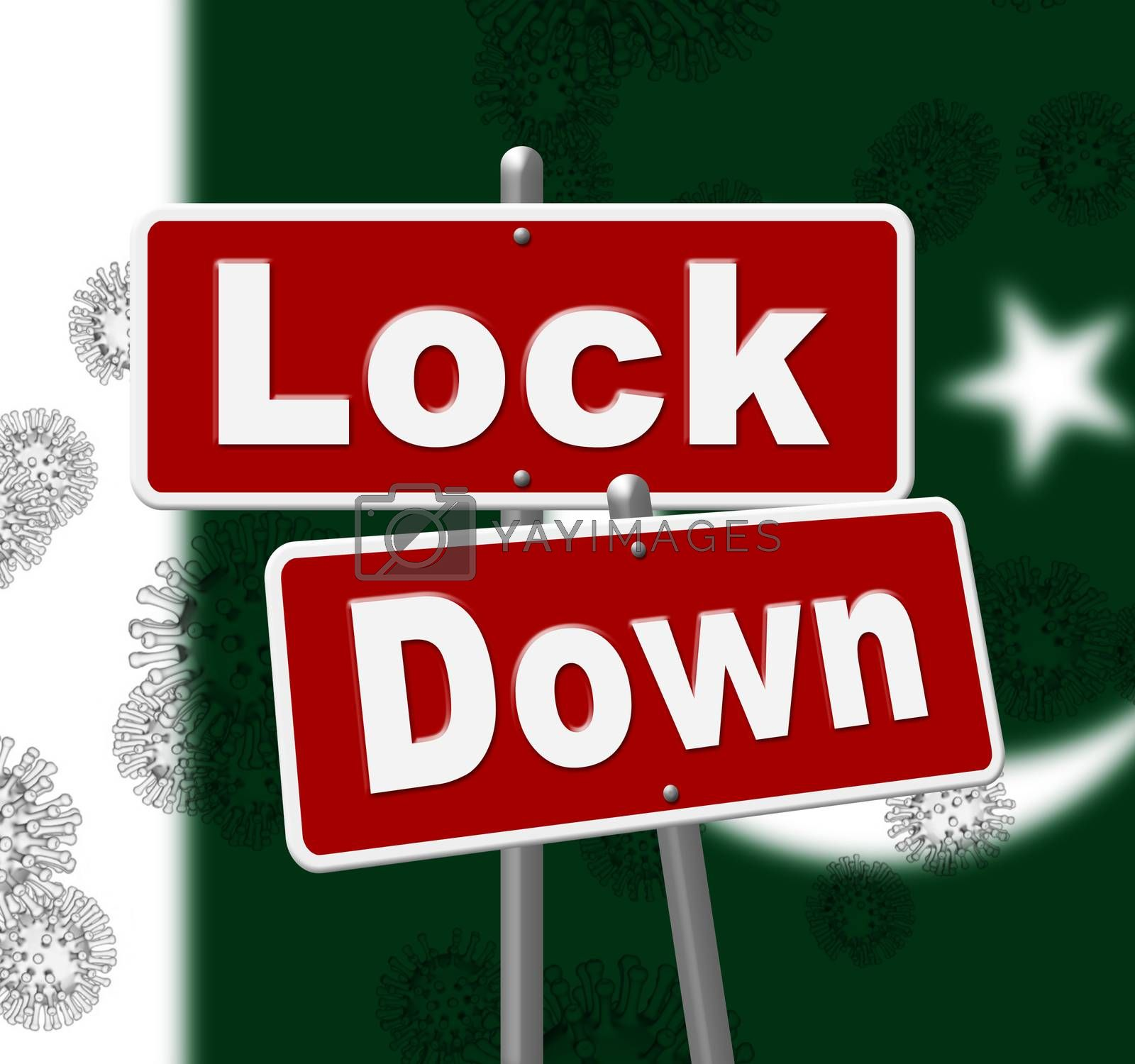 Pakistan lockdown sign against coronavirus covid-19. Pakistani stay home order to enforce self isolation and stop infection - 3d Illustration