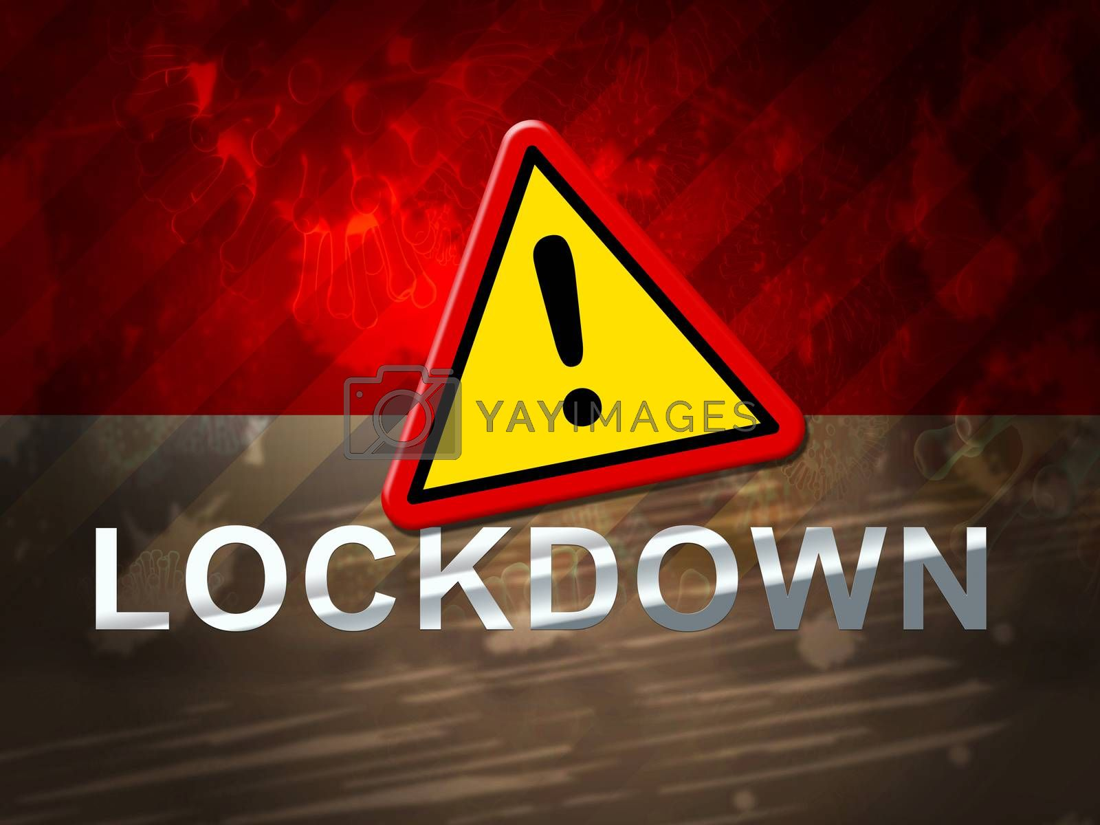 Indonesia lockdown sign against coronavirus covid-19. Indonesian stay home order to enforce self isolation and stop infection - 3d Illustration