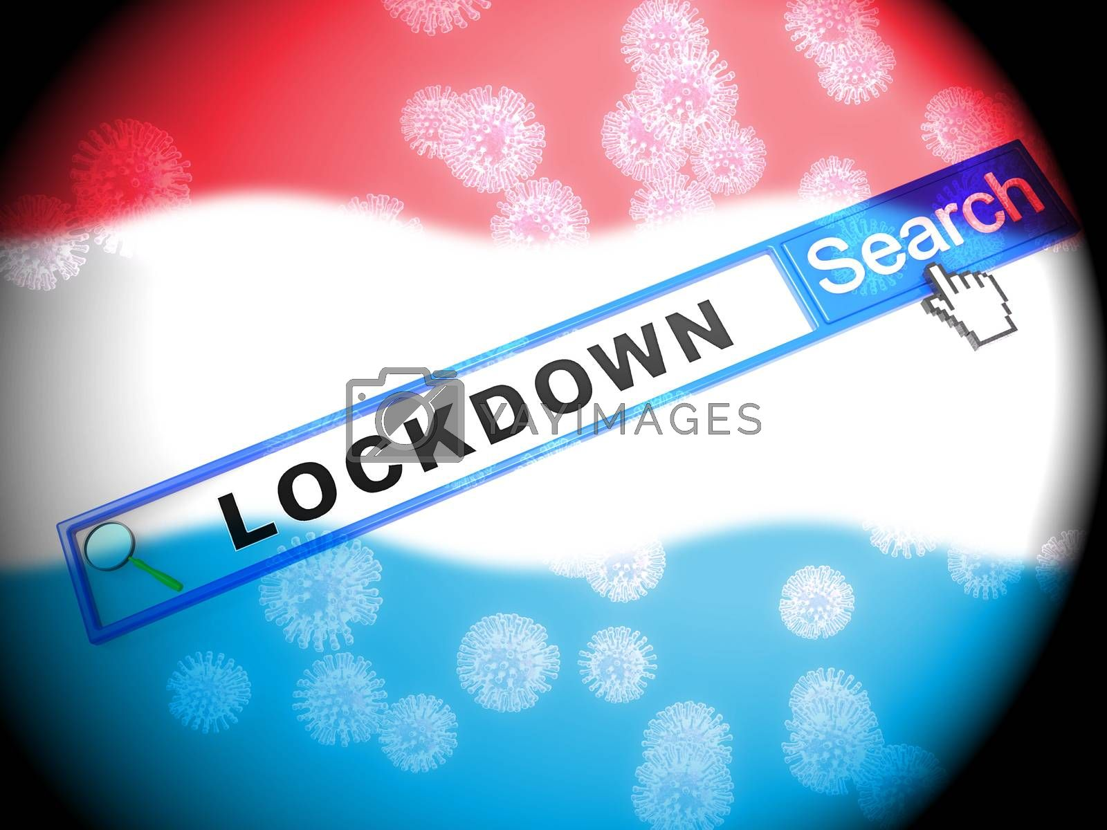 Luxembourg lockdown against coronavirus covid-19. Stay home order to enforce self isolation and stop infection - 3d Illustration