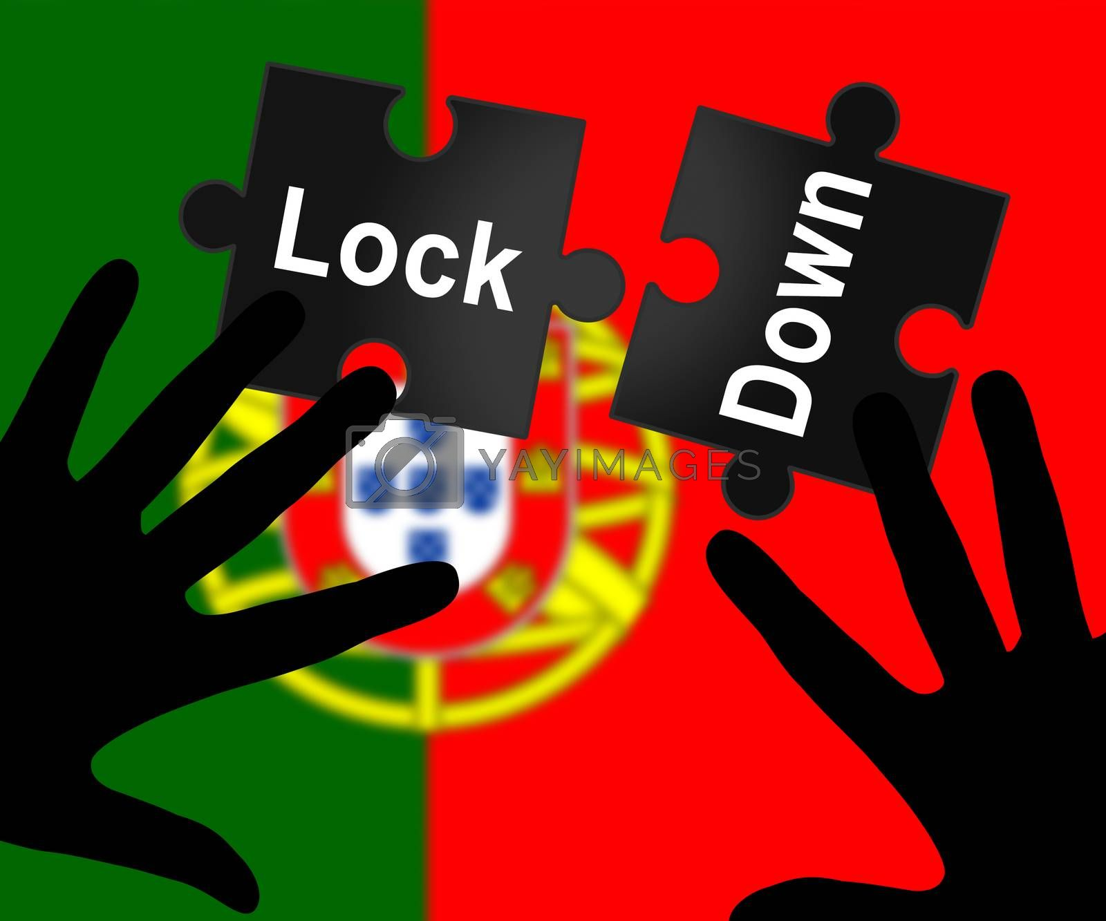 Portugal lockdown in solitary confinement or stay home. Portuguese lock down from covid-19 pandemic - 3d Illustration