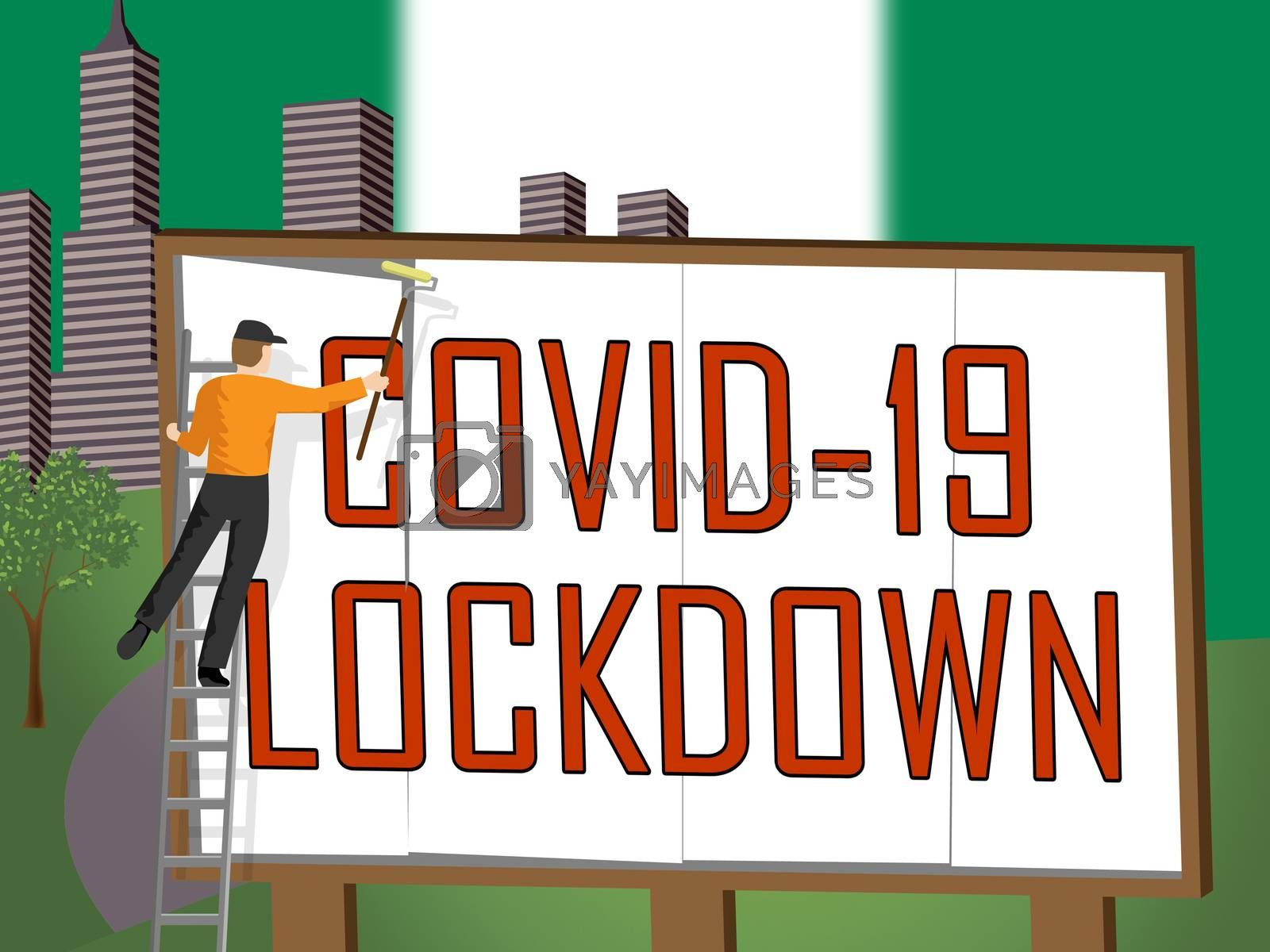 Nigeria lockdown against coronavirus covid-19. Nigerian stay home order to enforce self isolation and stop infection - 3d Illustration