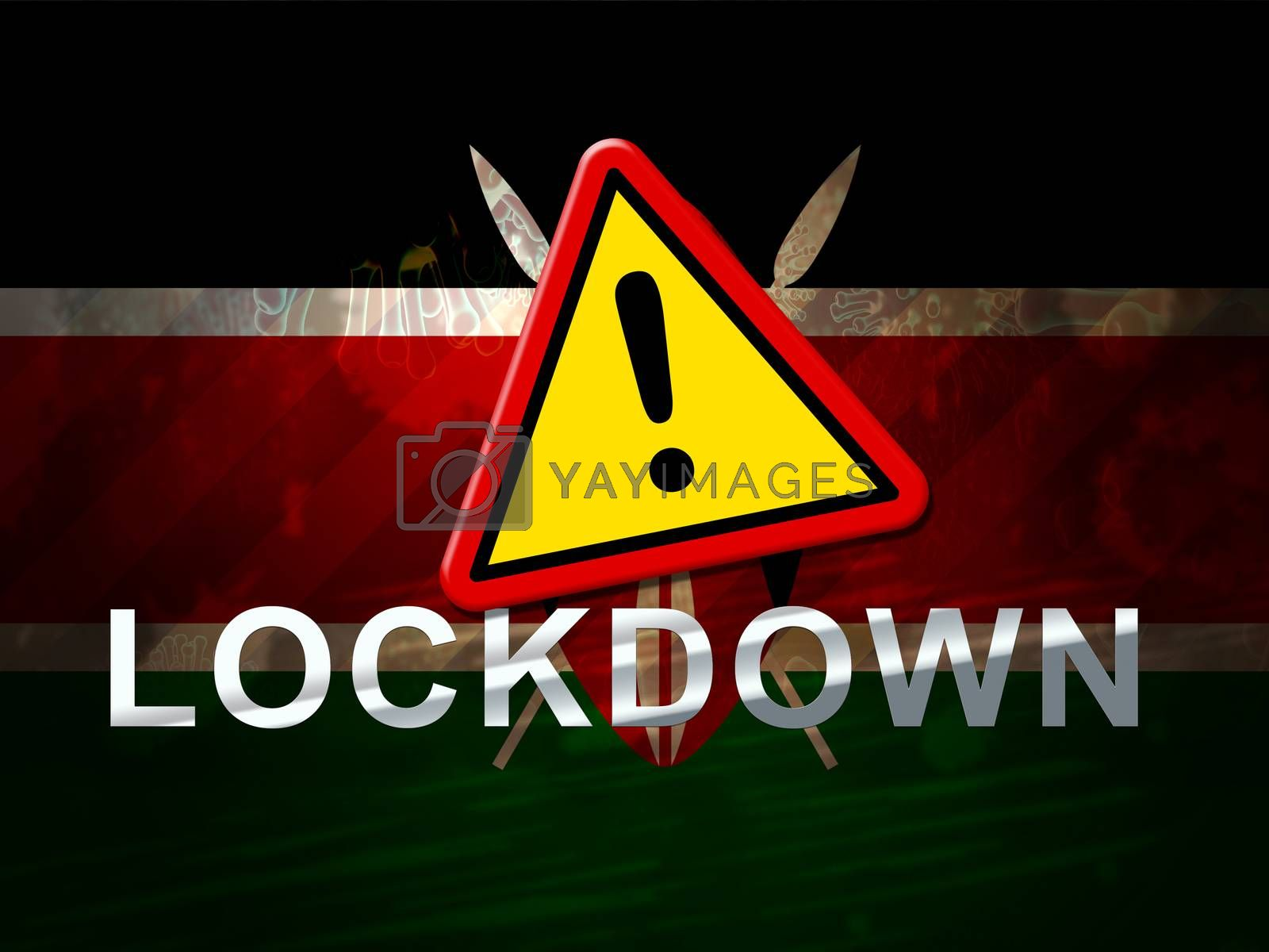 Kenya lockdown against coronavirus covid-19. Kenyan stay home order to enforce self isolation and stop infection - 3d Illustration