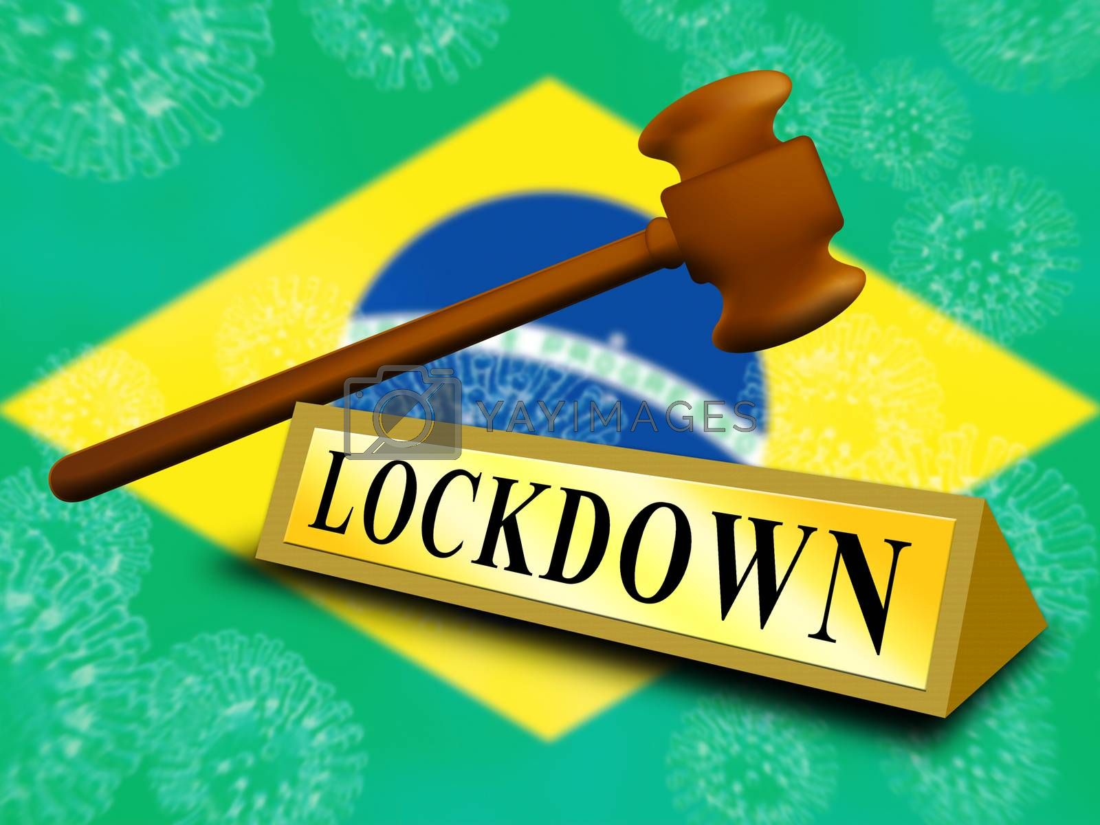 Brazil lockdown in solitary confinement or stay home. Brazilian lock down from covid-19 pandemic - 3d Illustration