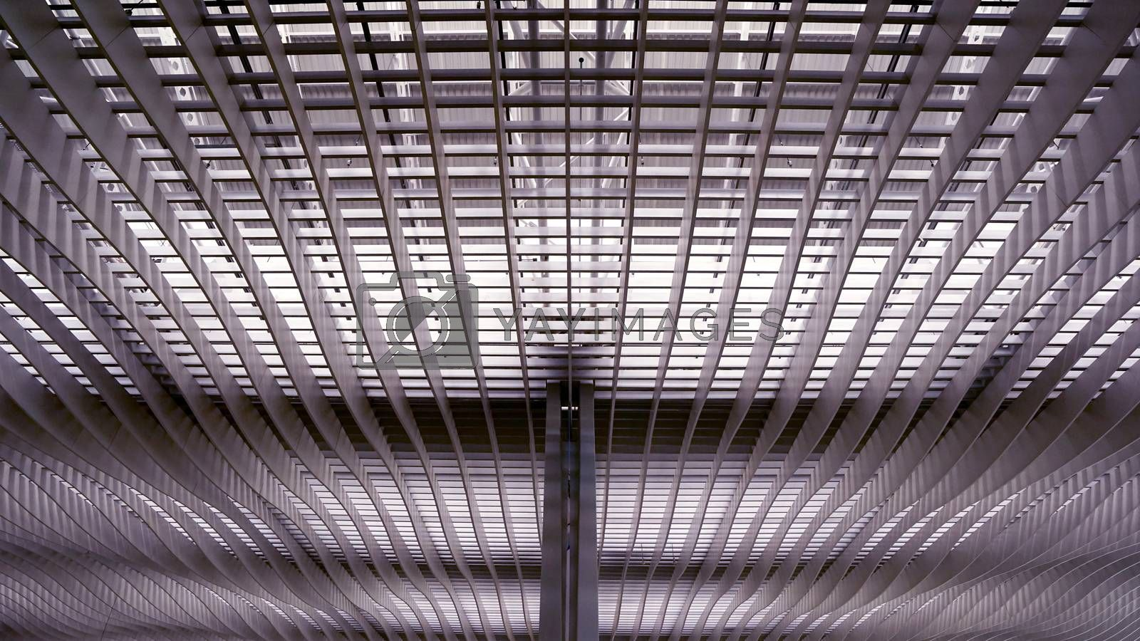 The interior and ceiling of airport archtecture terminal building