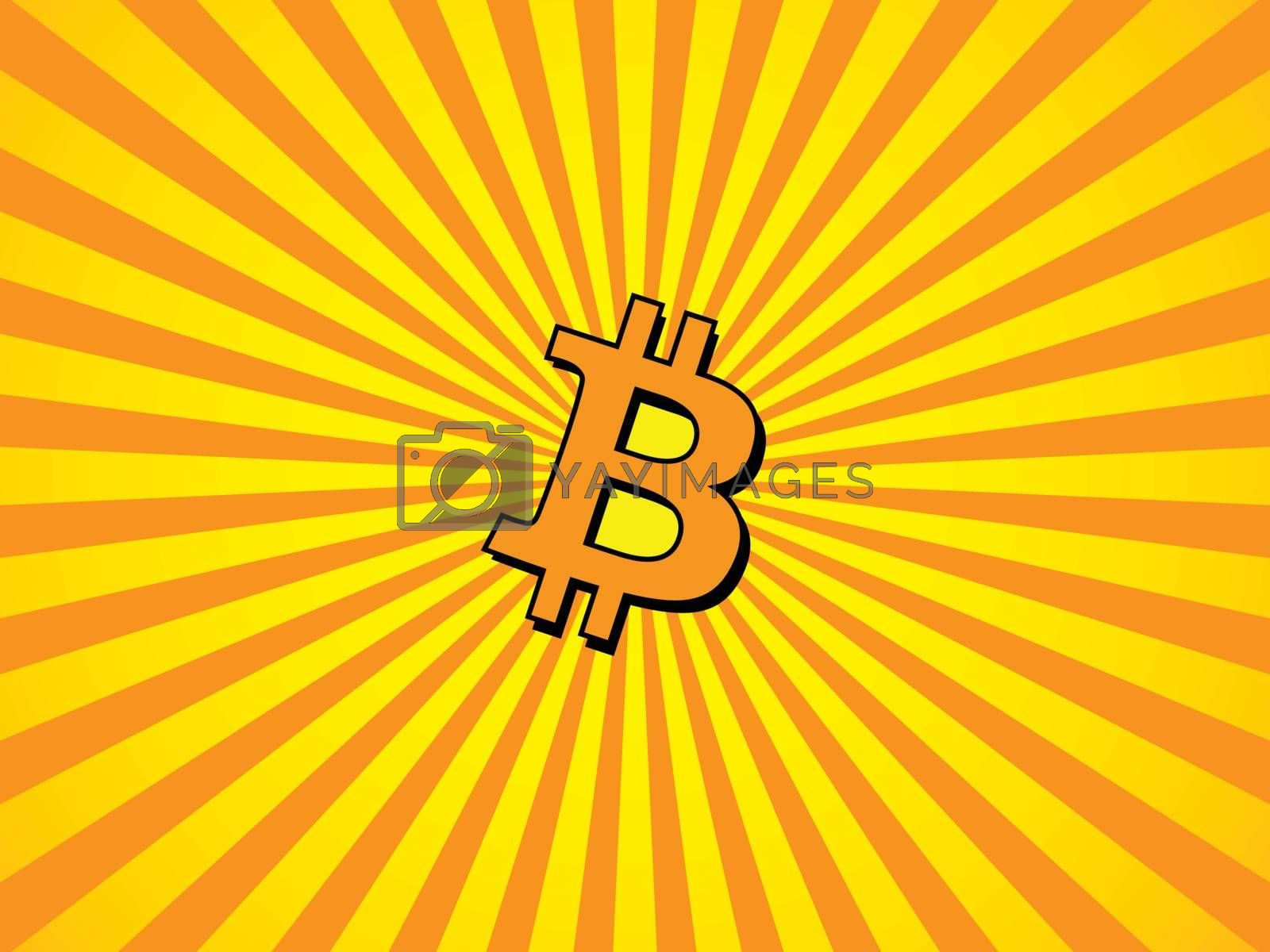 Orange-yellow rays background with Bitcoin symbol in the center. Beams of light focusing on the BTC sign in the middle of the background.