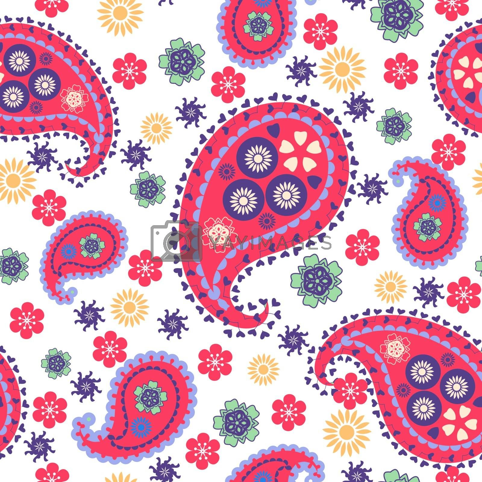 Vector Hand drawn seamless pattern with Paisley Pattern Floral paisley abstract print. Fabric design, website decoration