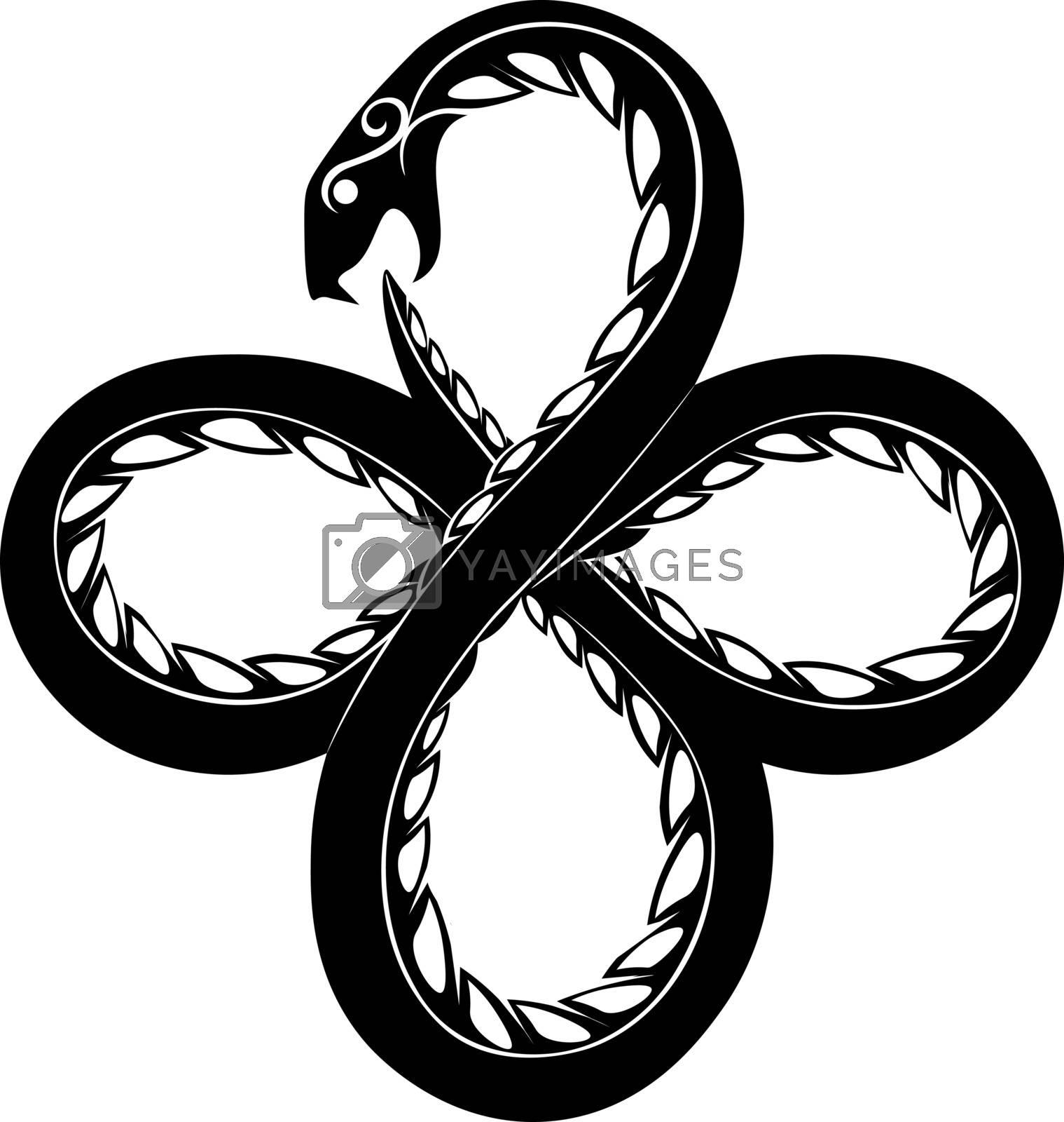 Black tatoo or print illustration of occult symbol ouroboros serpent