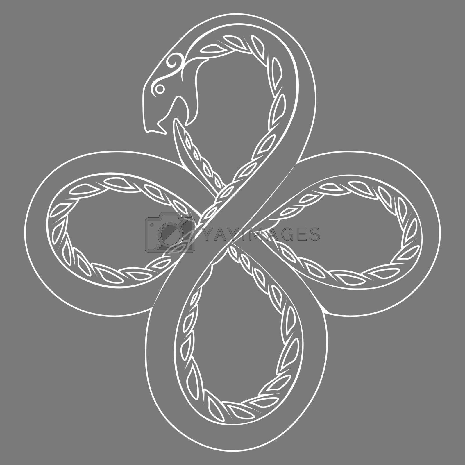 White contour illustration of occult symbol ouroboros serpent on grey background
