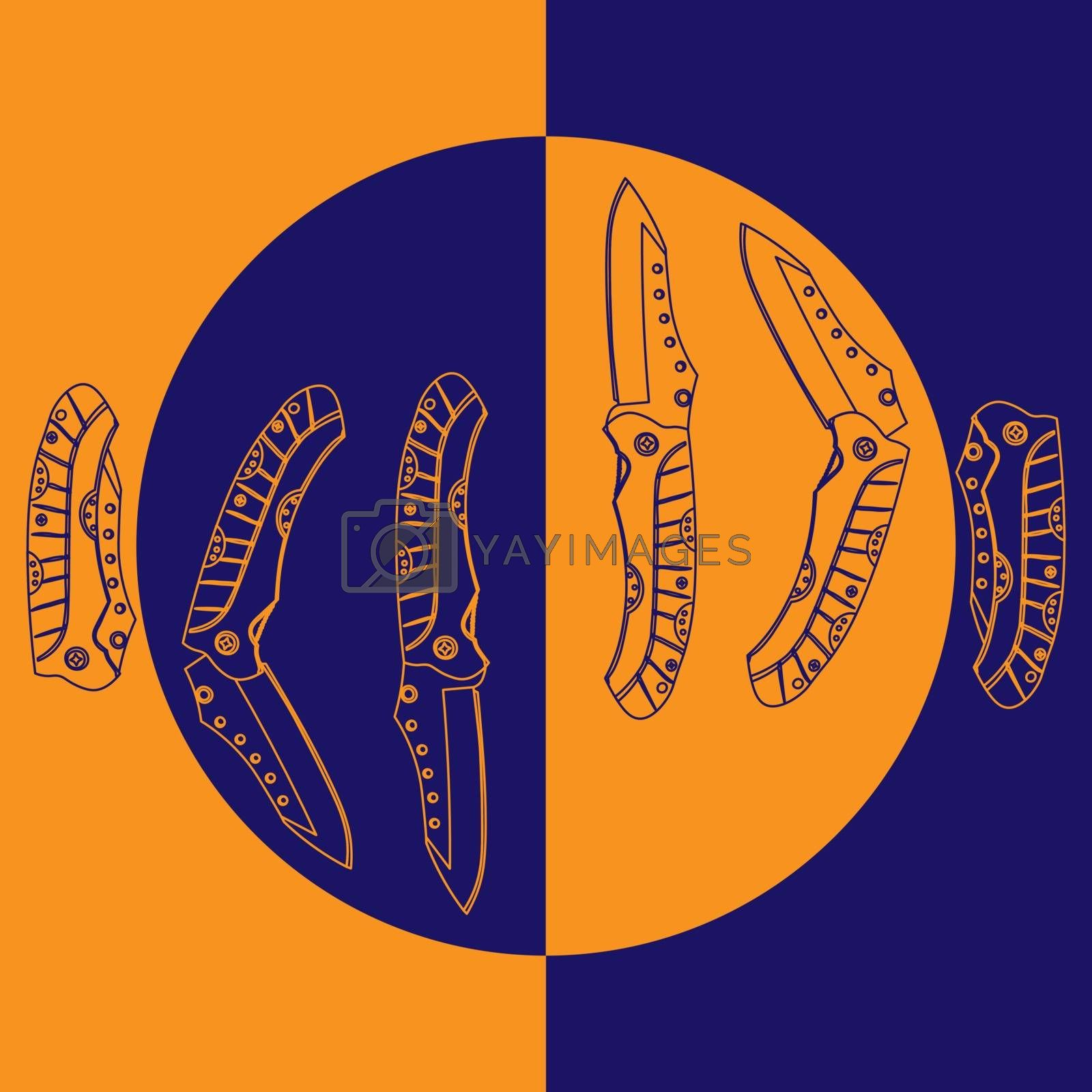 Colorful contour sketch illustration of six folding pocket knives in different positions on blue and orange background