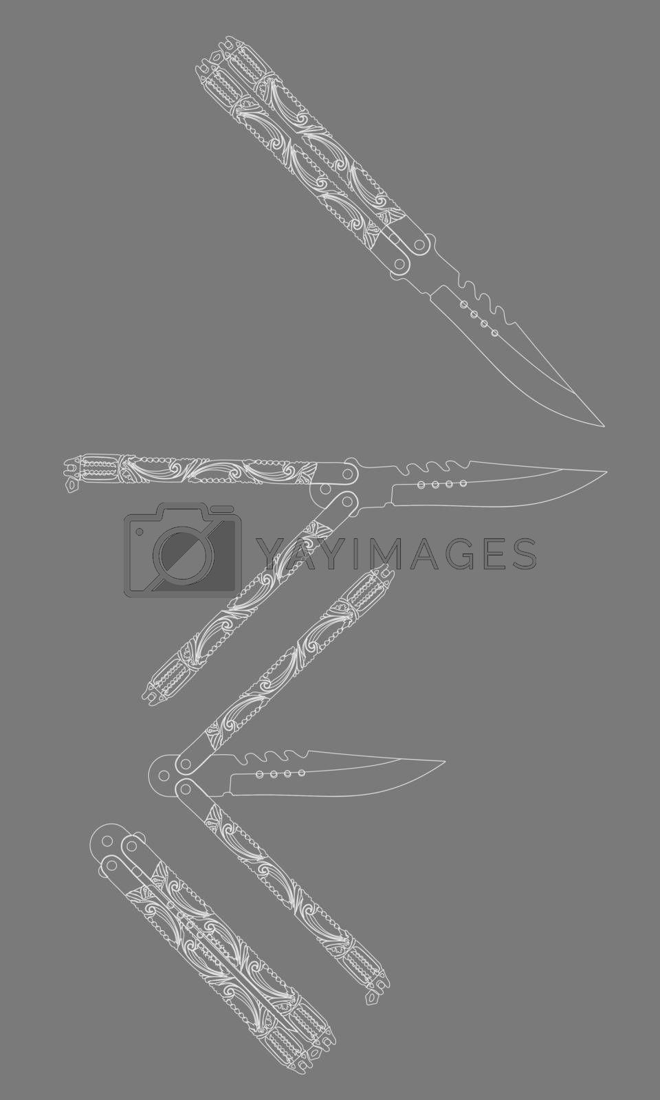White contour sketch illustration of four beautiful butterfly knives or balisongs on grey background