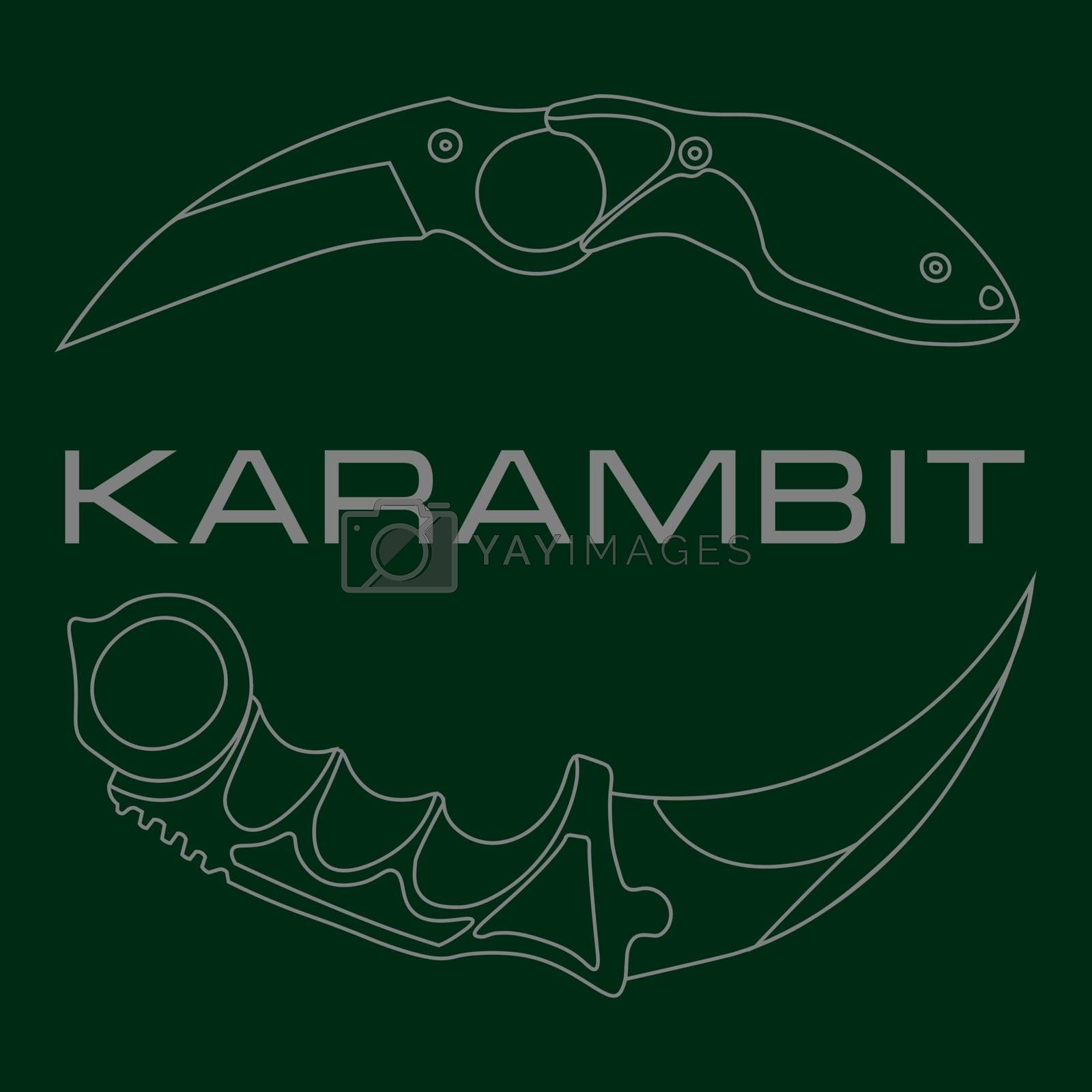 Grey contour sketch illustration of two tactical pocket knives karambits on green background