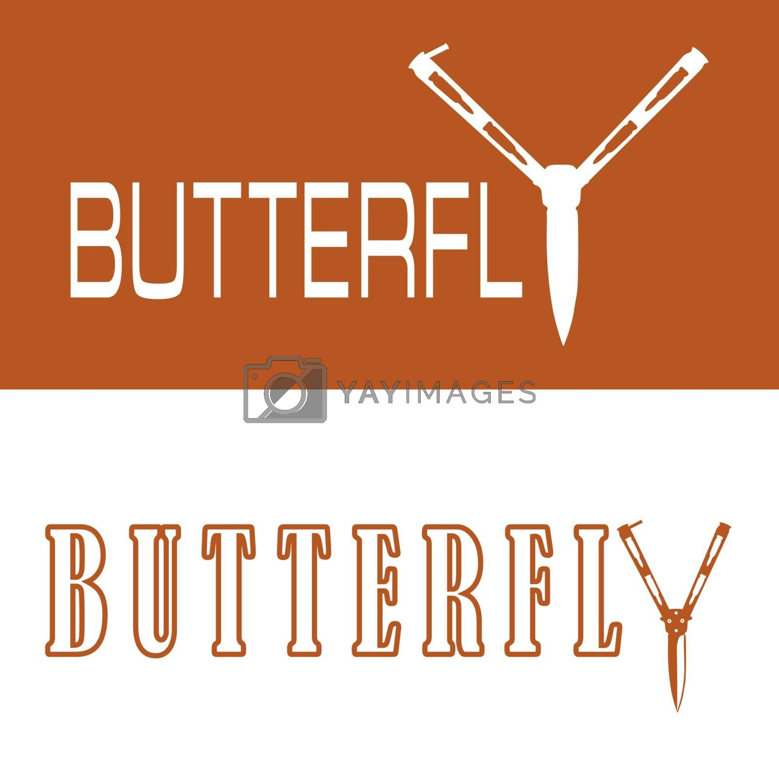 Two options of text 'butterfly' with butterfly knife instead 'y' in orange and white colors