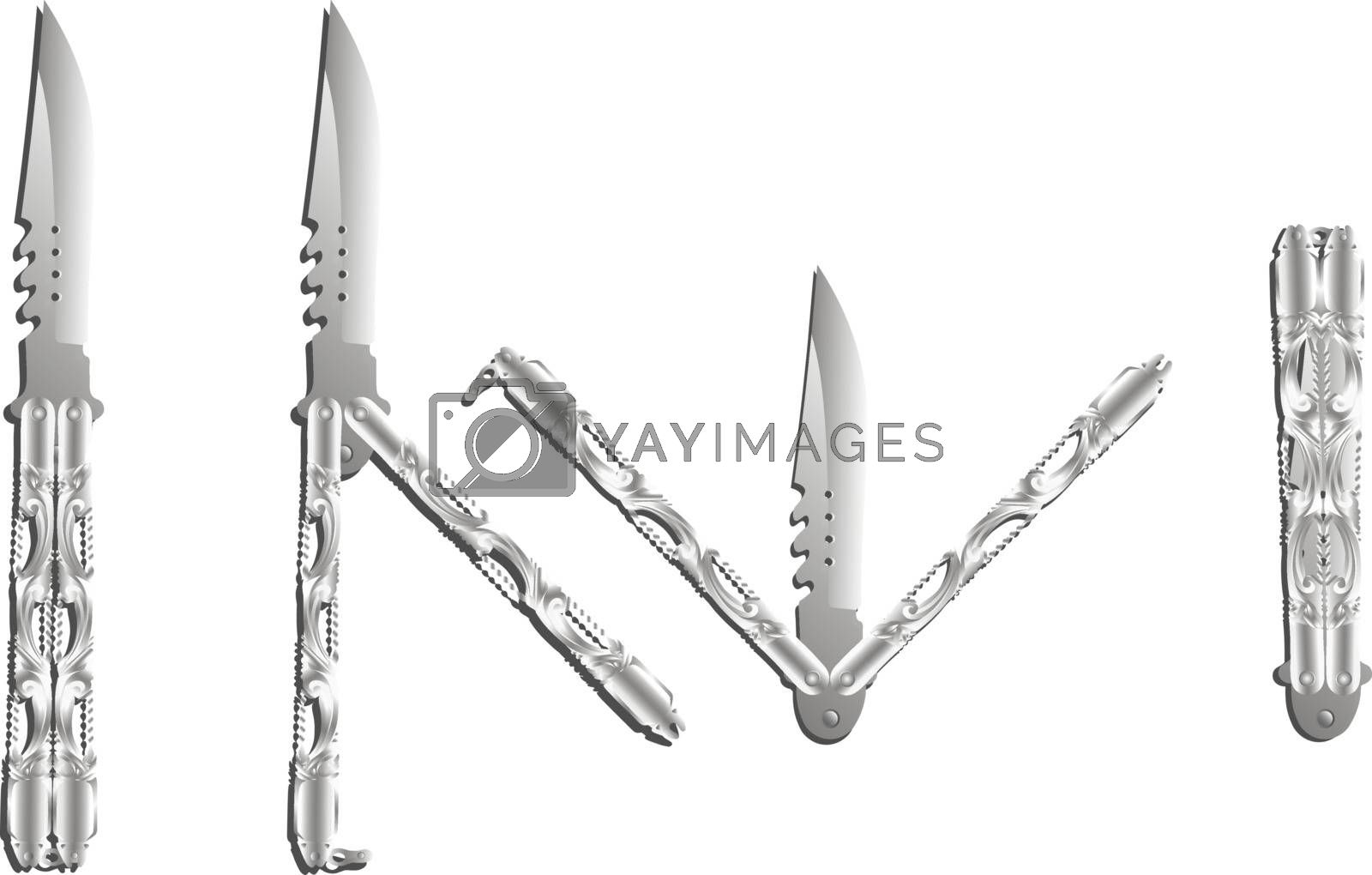 Isolated beautiful realistic silver balisong or butterfly knife in four different positions