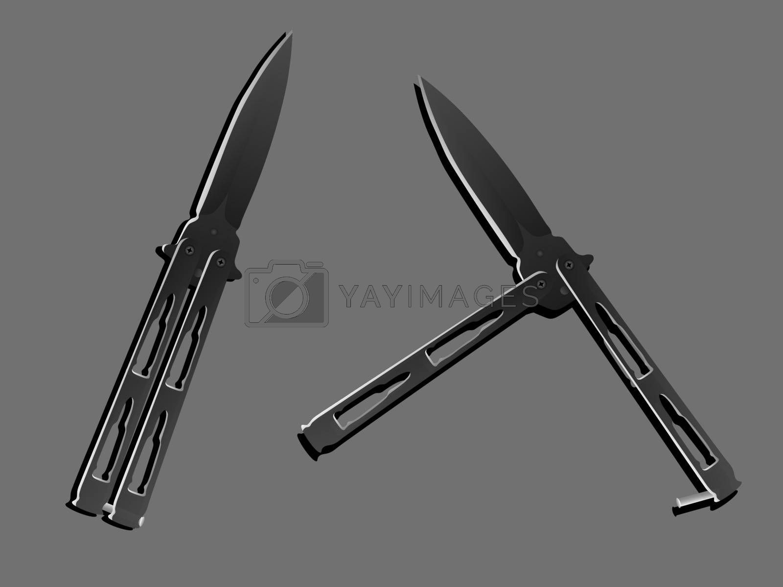Two realistic black balisongs or butterfly knives in two positions on grey background