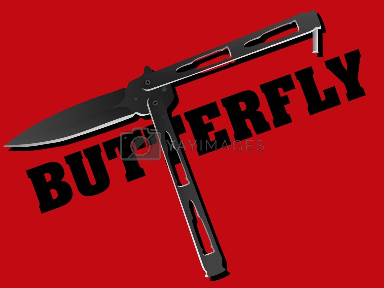 Realistic black balisong or butterly knife in the word 'butterfly' on red background
