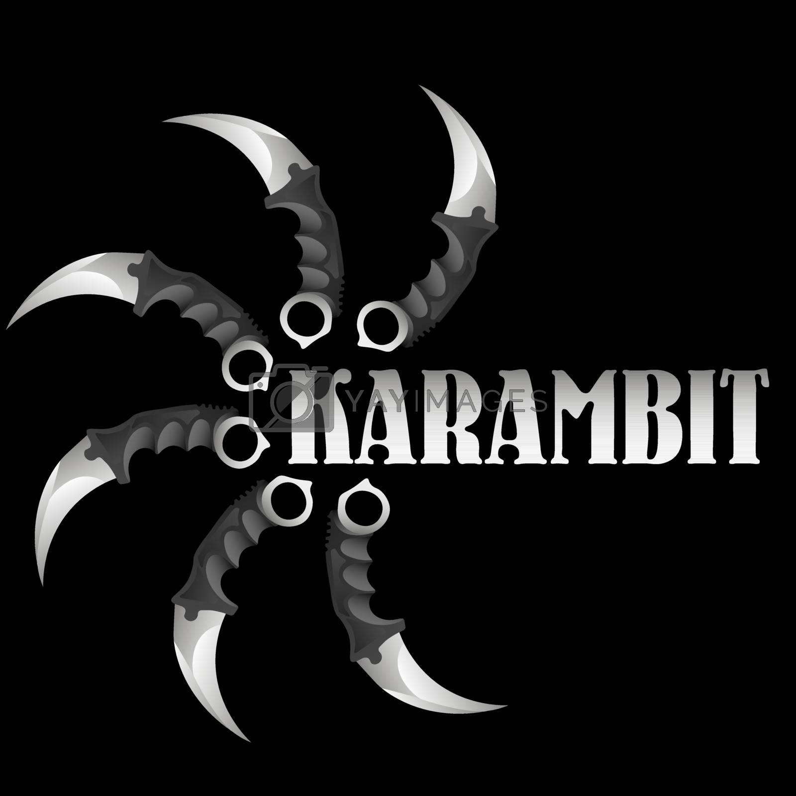 Six realistic karambits around the word 'karambit' on black background