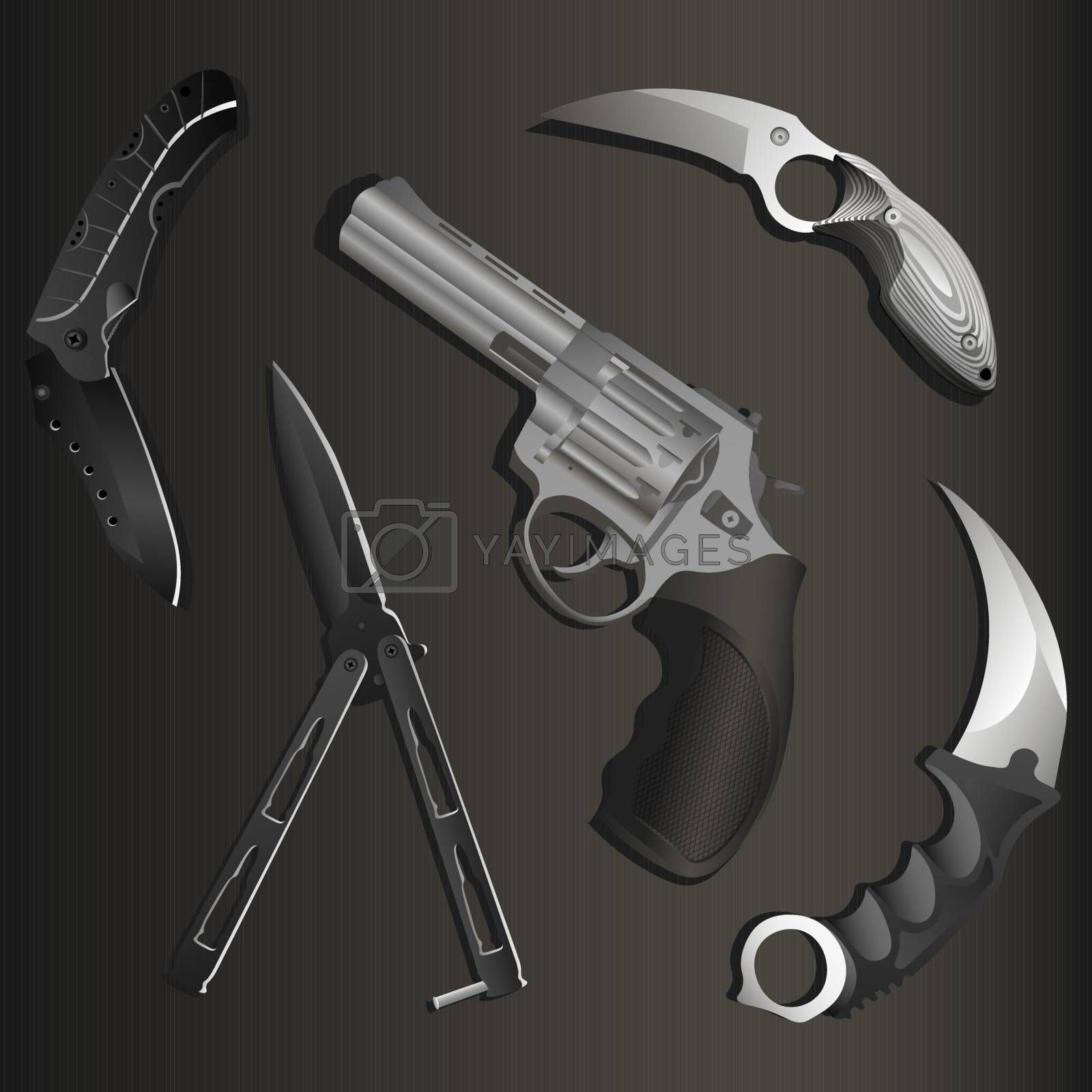 Set of realistic revolver, black folding pocket knife, black balisong or butterfly knife and two karambits