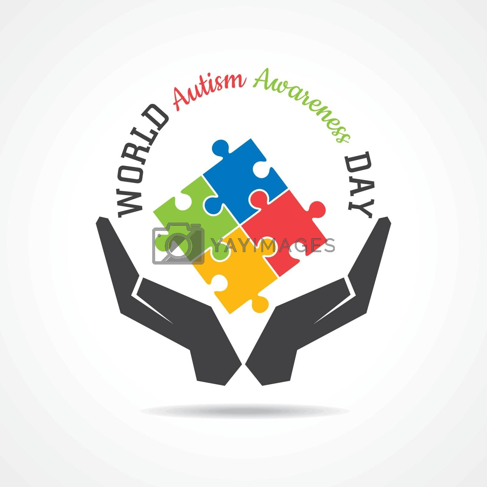 World autism awareness day with colorful puzzles vector background. by graphicsdunia4you